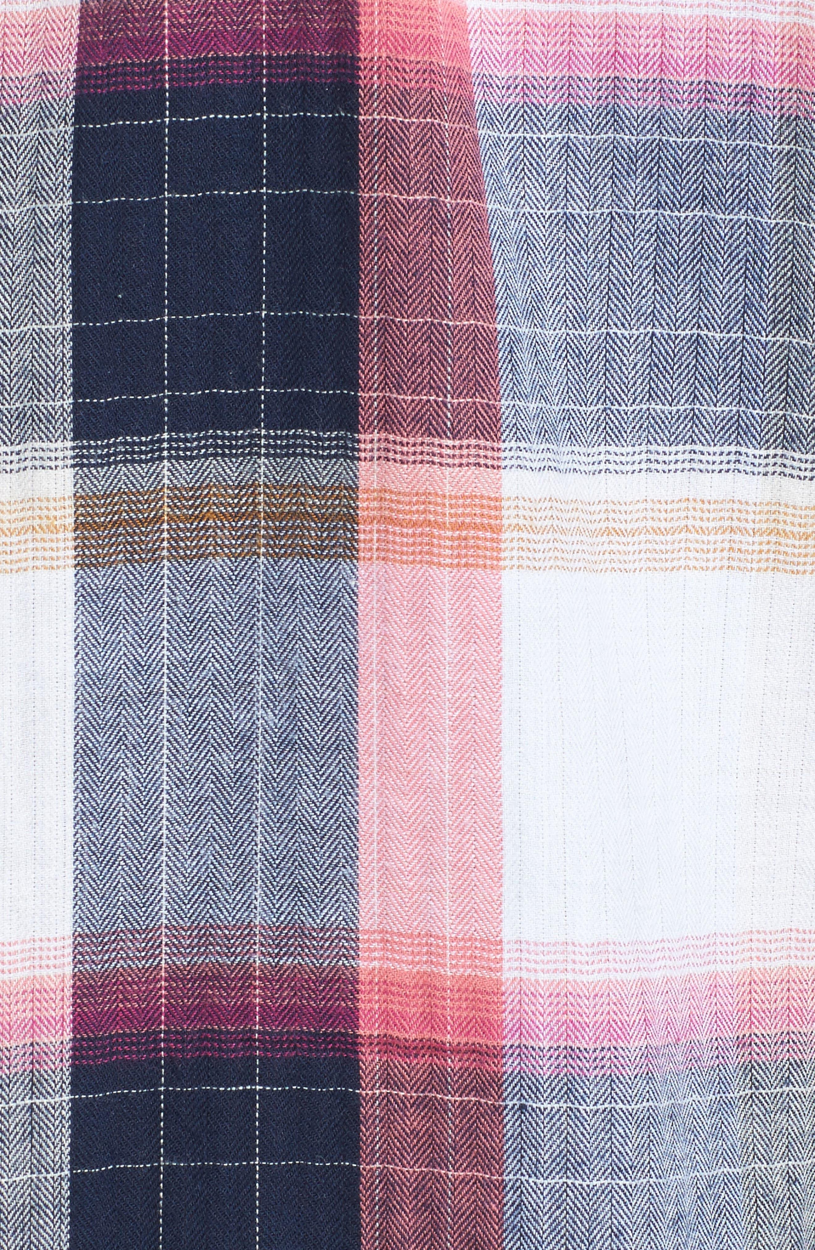 Peplum Plaid Shirt,                             Alternate thumbnail 5, color,                             Navy- Rose Plaid
