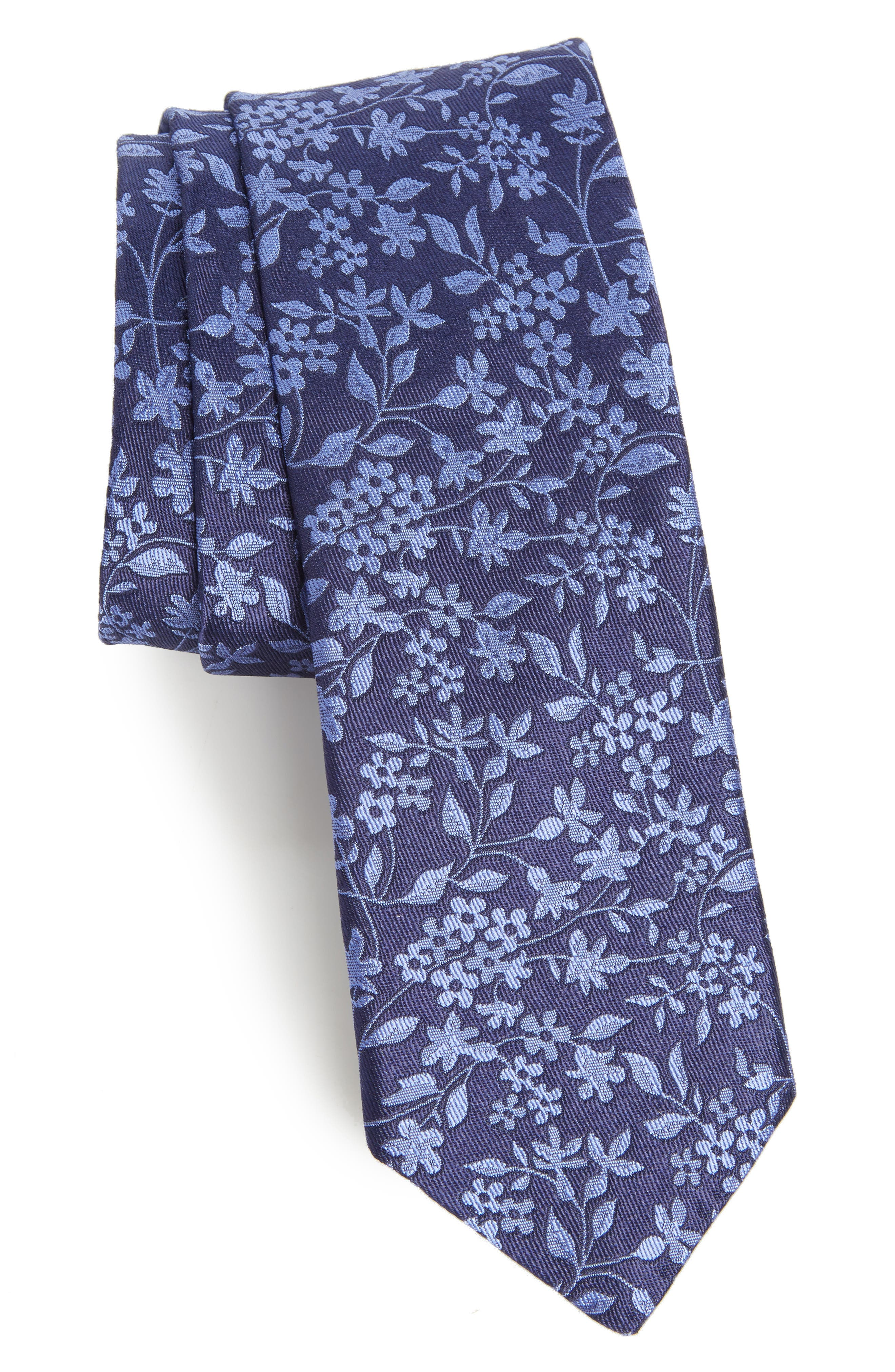 Elegant Botanical Silk Tie,                         Main,                         color, Navy