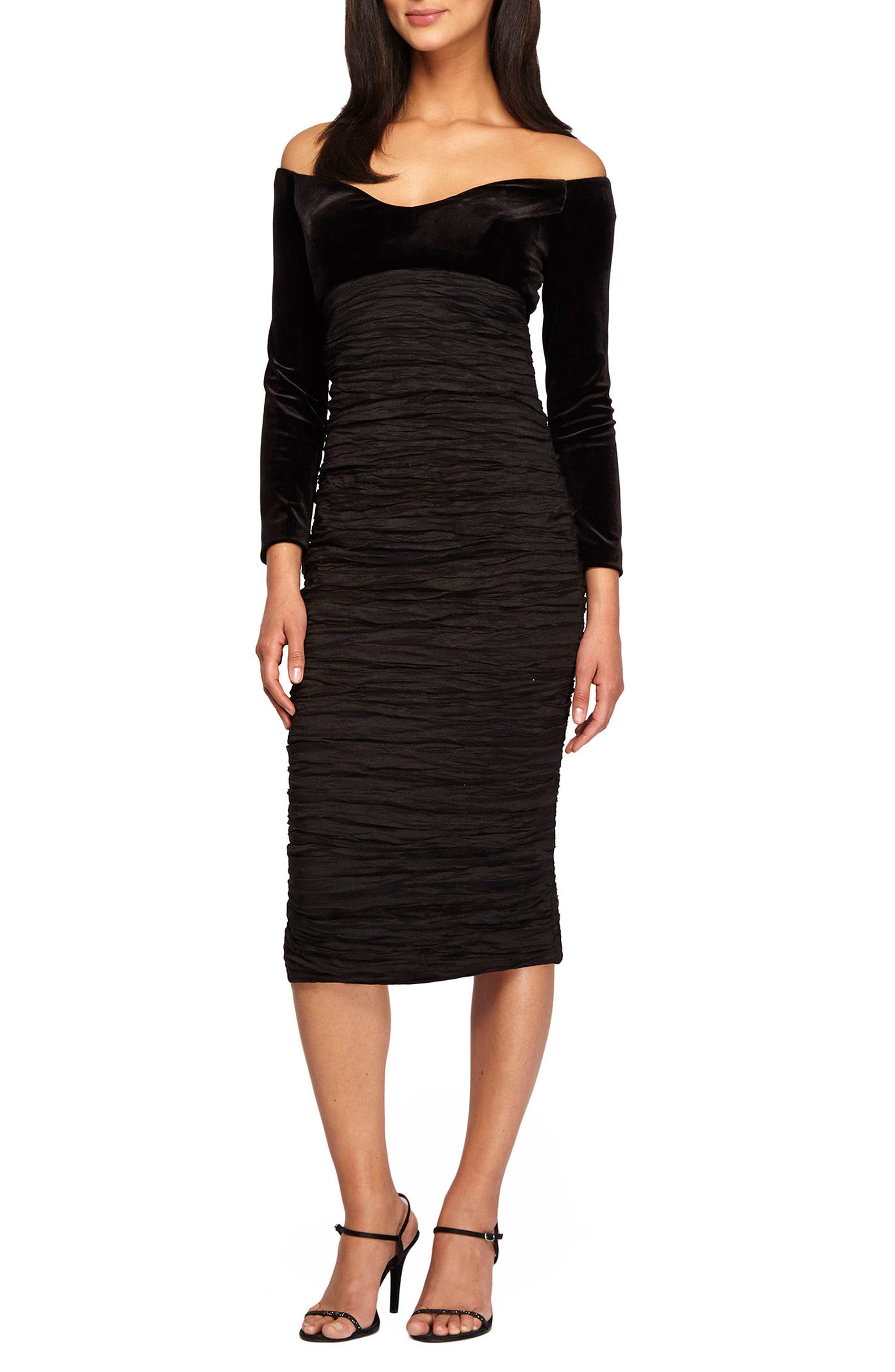 Off the Shoulder Velvet & Taffeta Sheath Dress,                         Main,                         color, Black