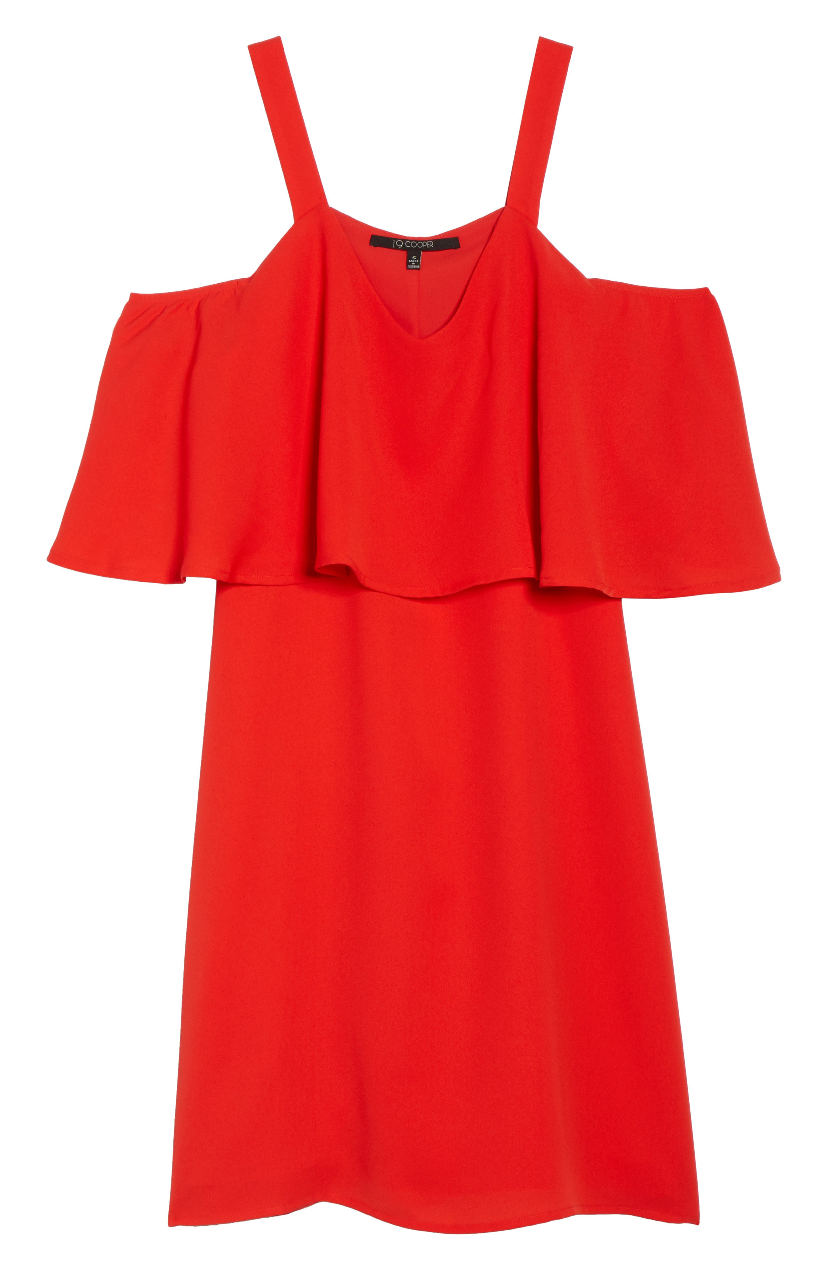 Crepe Cold Shoulder Dress,                             Alternate thumbnail 6, color,                             Coral Orange