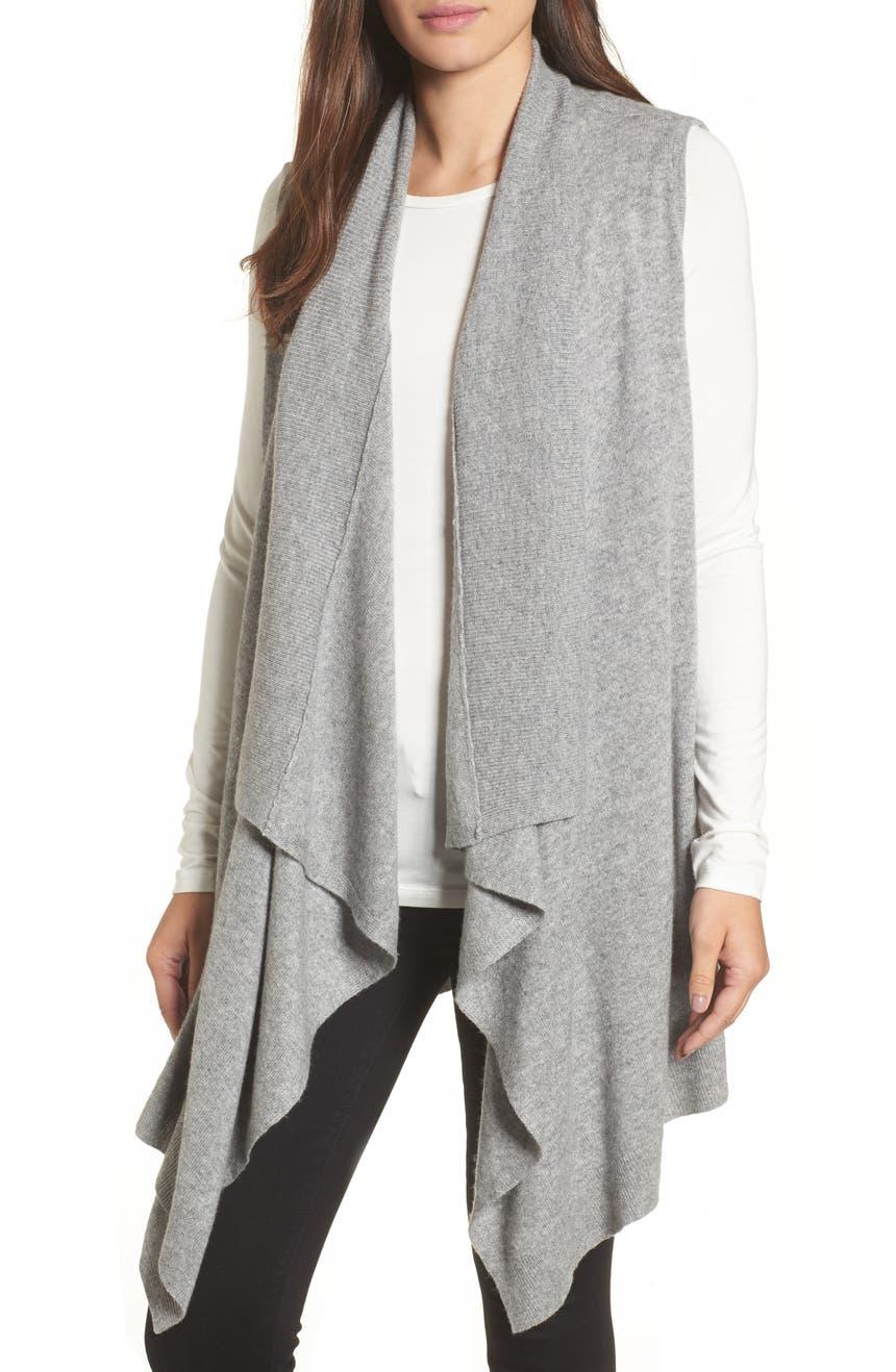 Halogen® Wool & Cashmere Drape Front Sweater Vest | Nordstrom
