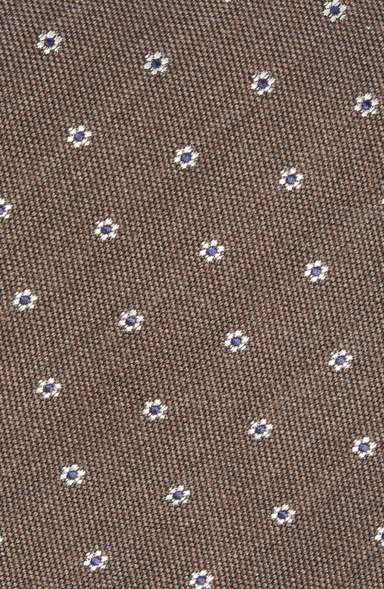 Heather Floral Silk & Wool Tie,                             Alternate thumbnail 2, color,                             Brown