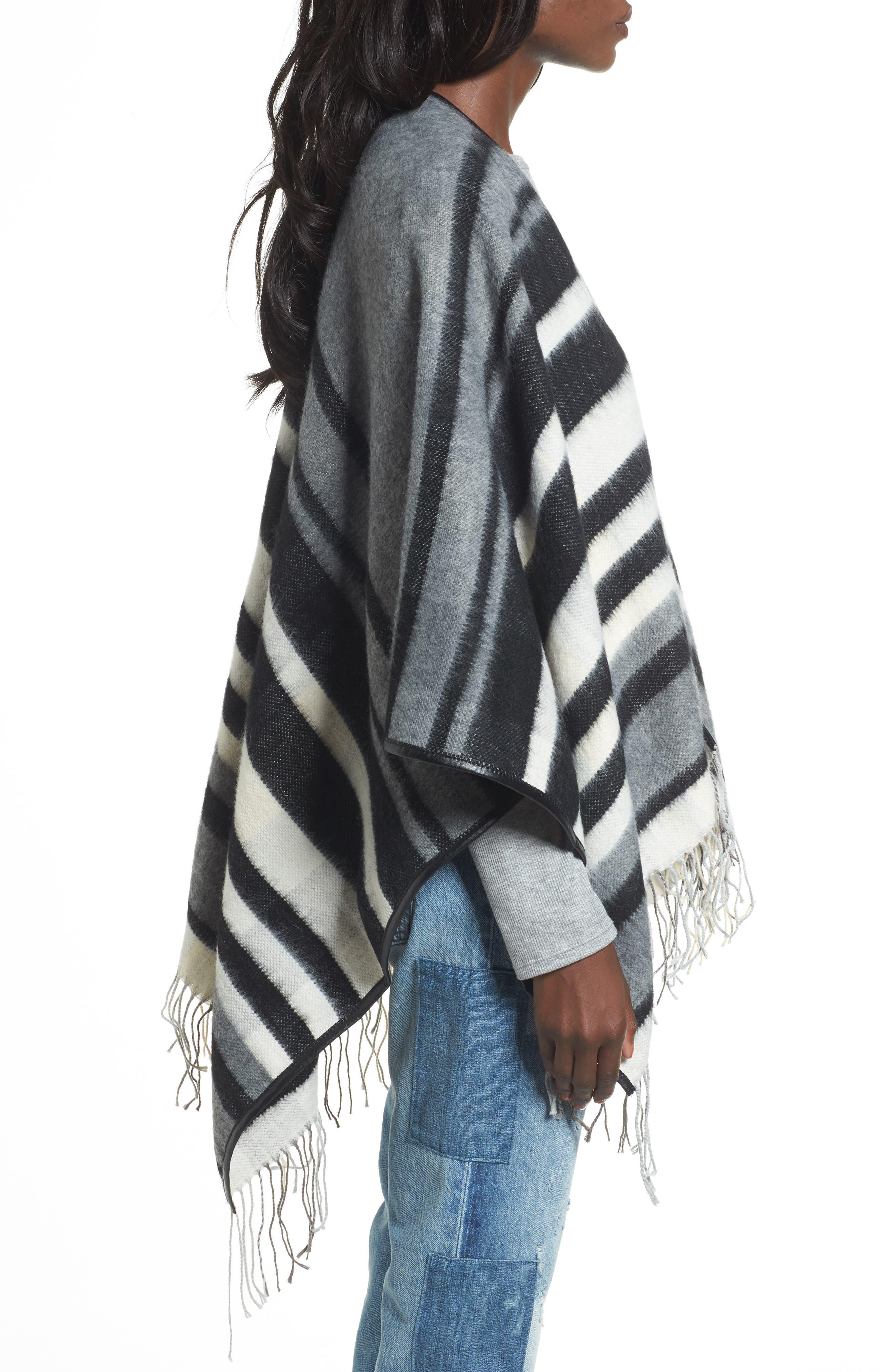 Accessory Collective Stripe Ruana,                             Alternate thumbnail 3, color,                             Black/ Grey