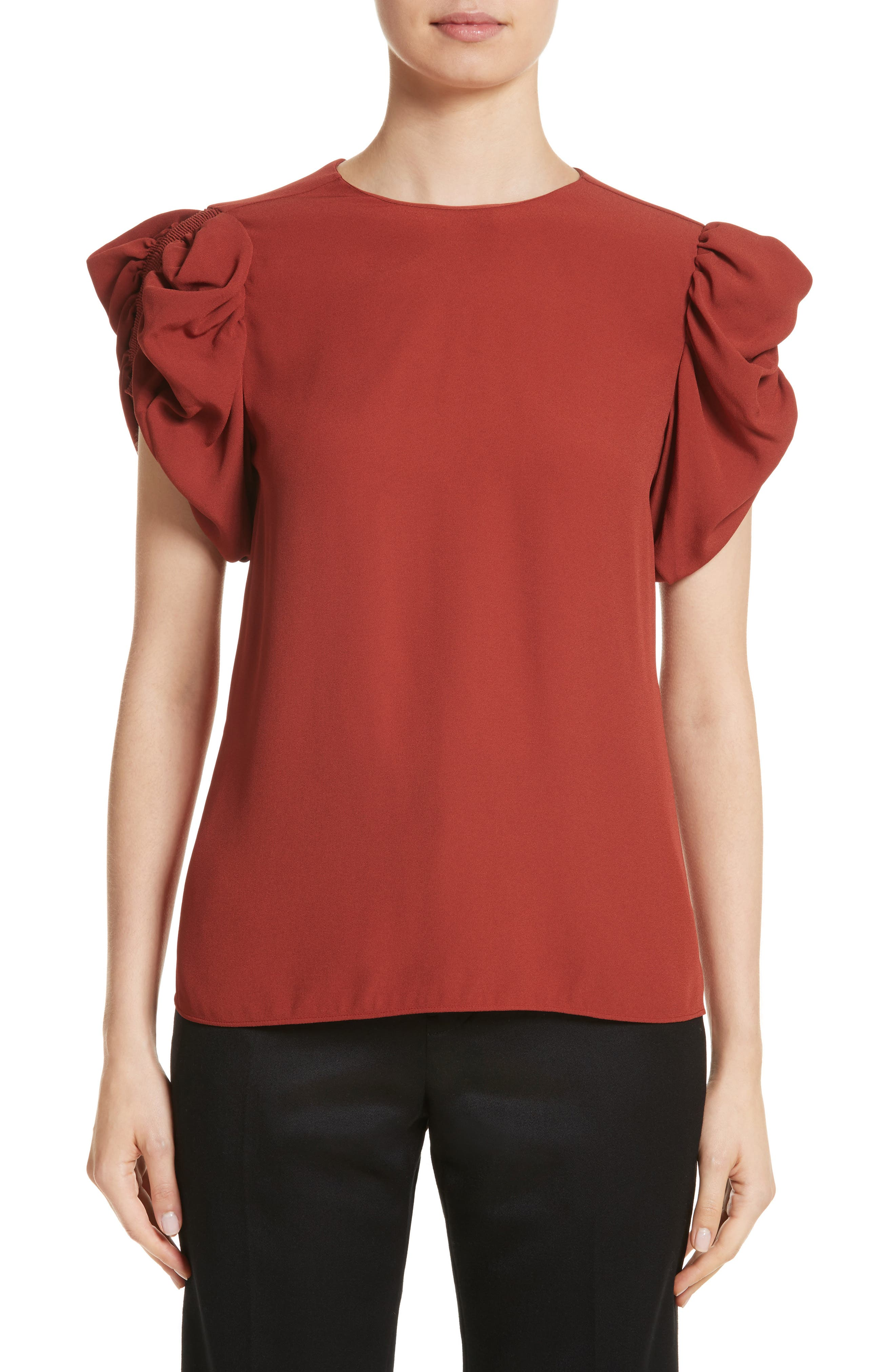 Puff Sleeve Blouse,                         Main,                         color, Faded Red