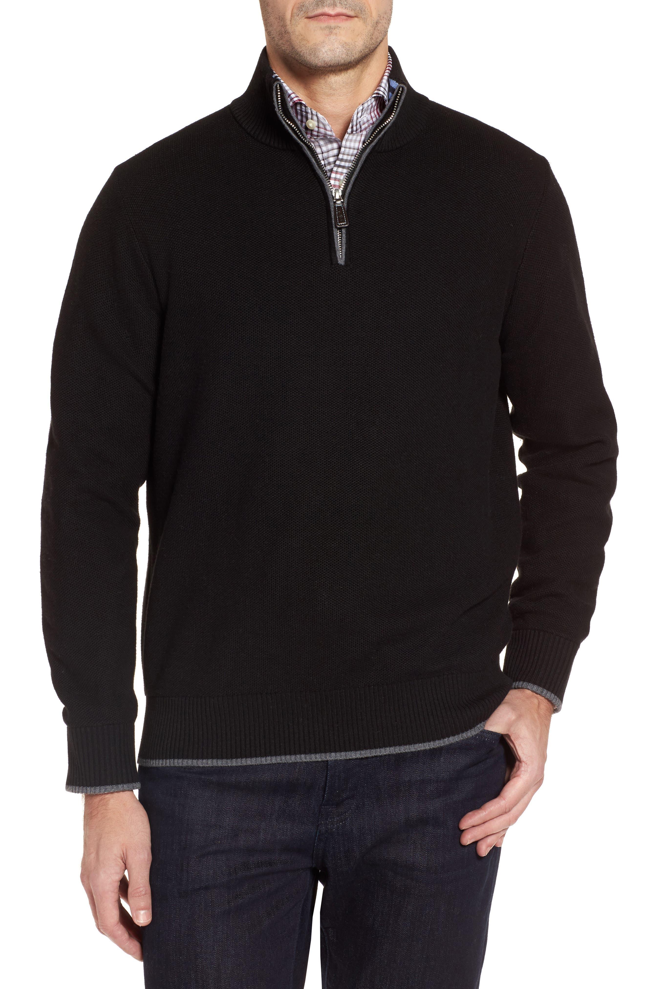 Lafitte Tipped Quarter Zip Sweater,                         Main,                         color, Black