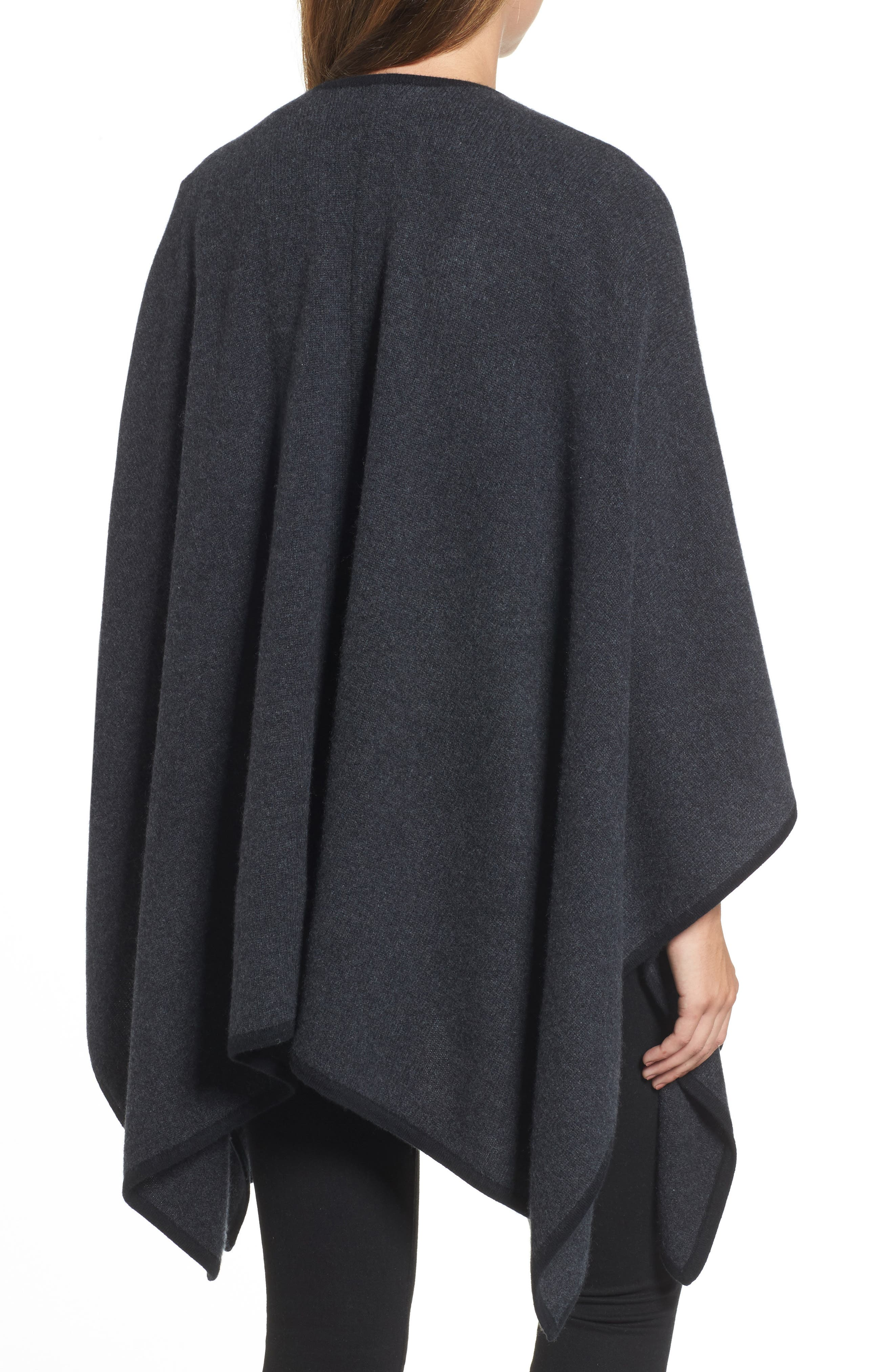Cashmere Cape,                             Alternate thumbnail 2, color,                             Grey Dark Charcoal Heather