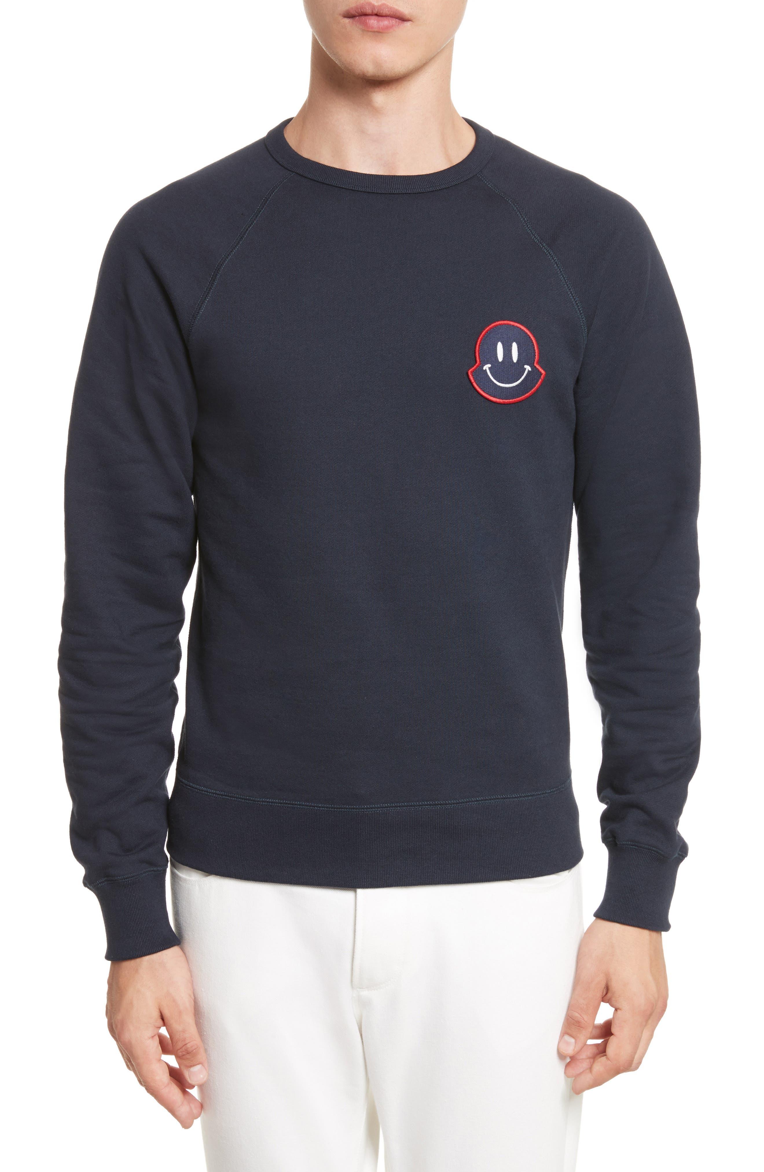 Smile Logo Raglan Crewneck Sweatshirt,                         Main,                         color, Dark Navy