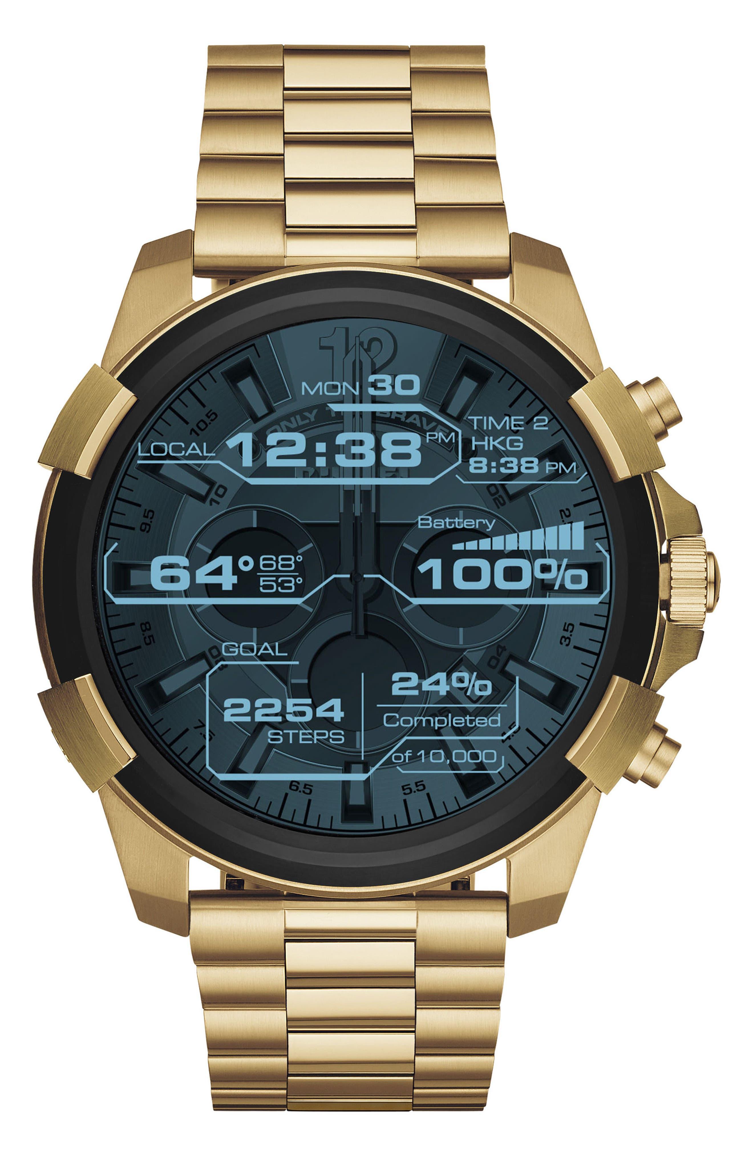 Full Guard Touchscreen Bracelet Smartwatch, 48mm x 54mm,                         Main,                         color, Gold Tone/ Black
