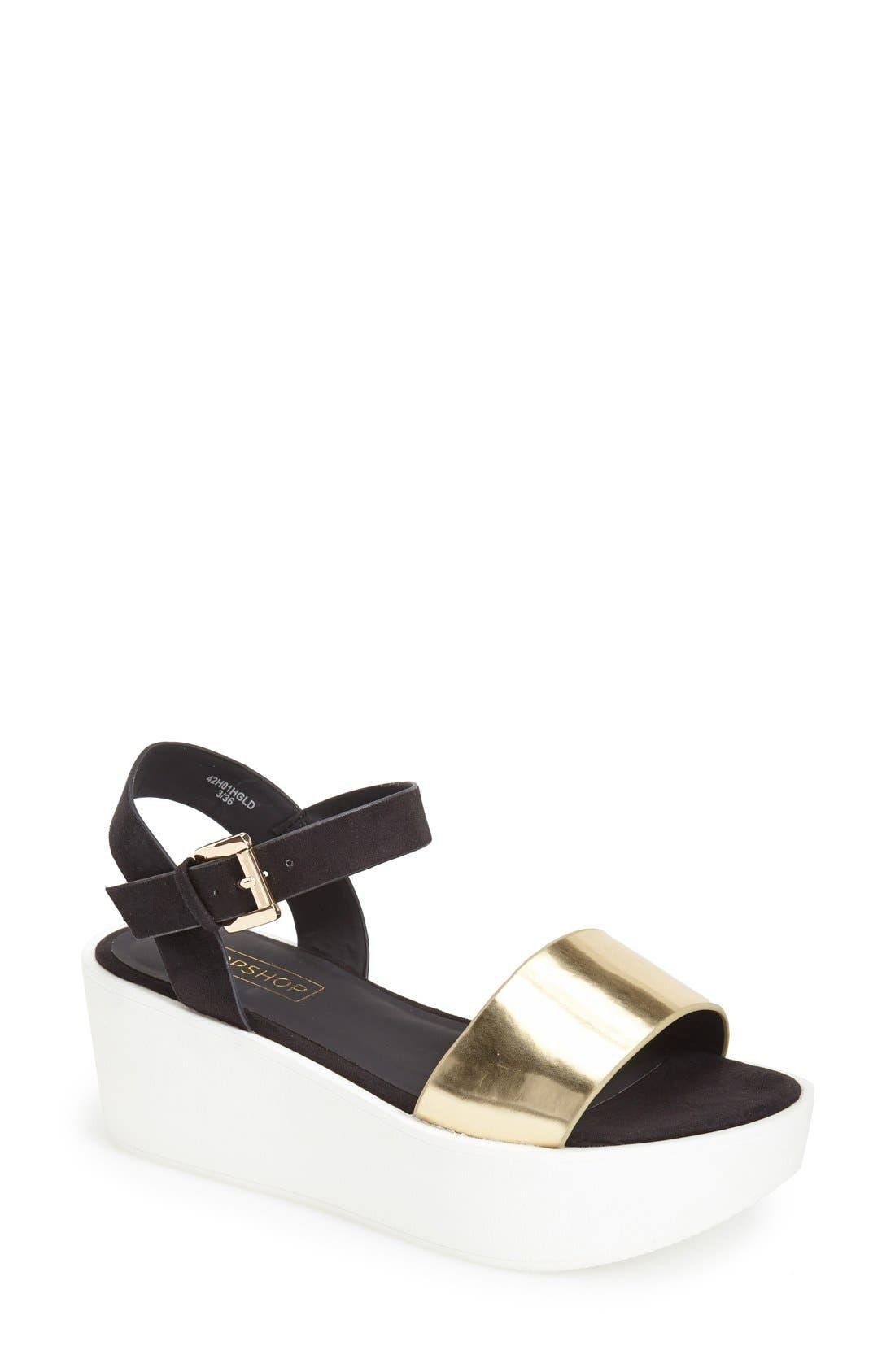Main Image - Topshop 'Honey' Ankle Strap Wedge Platform Sandal (Women)