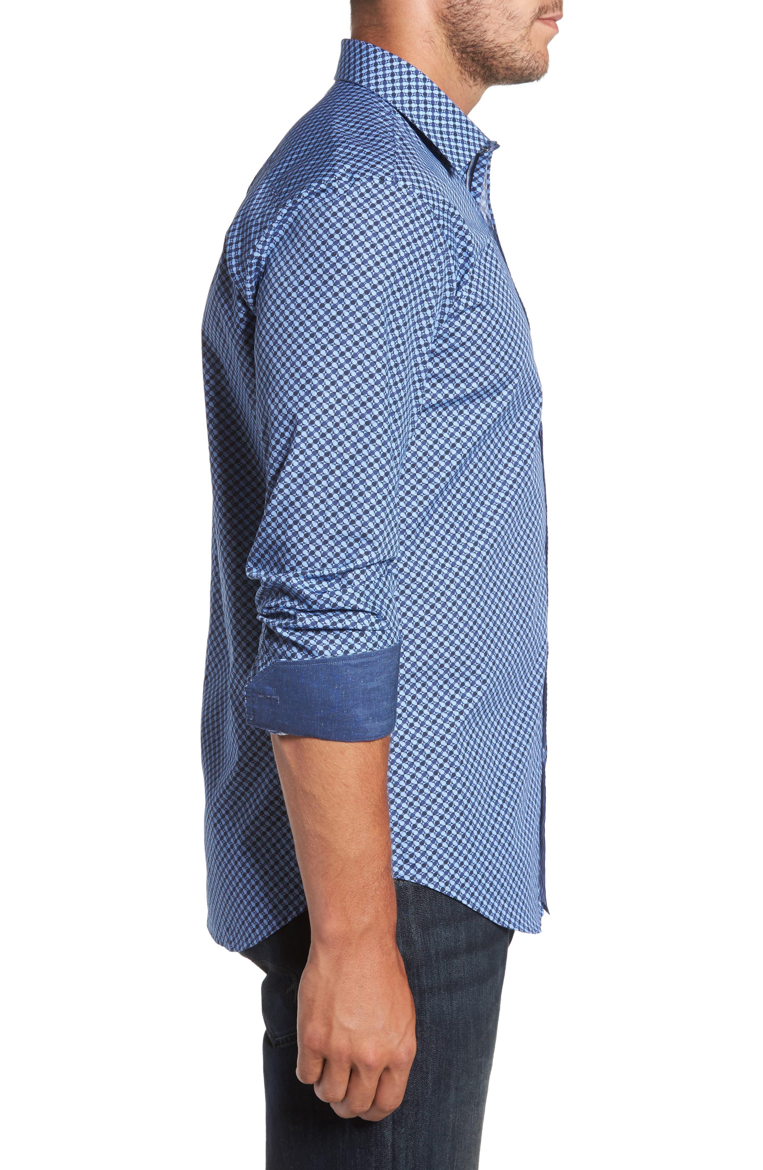 Trim Fit Dot Print Sport Shirt,                             Alternate thumbnail 3, color,                             Classic Blue