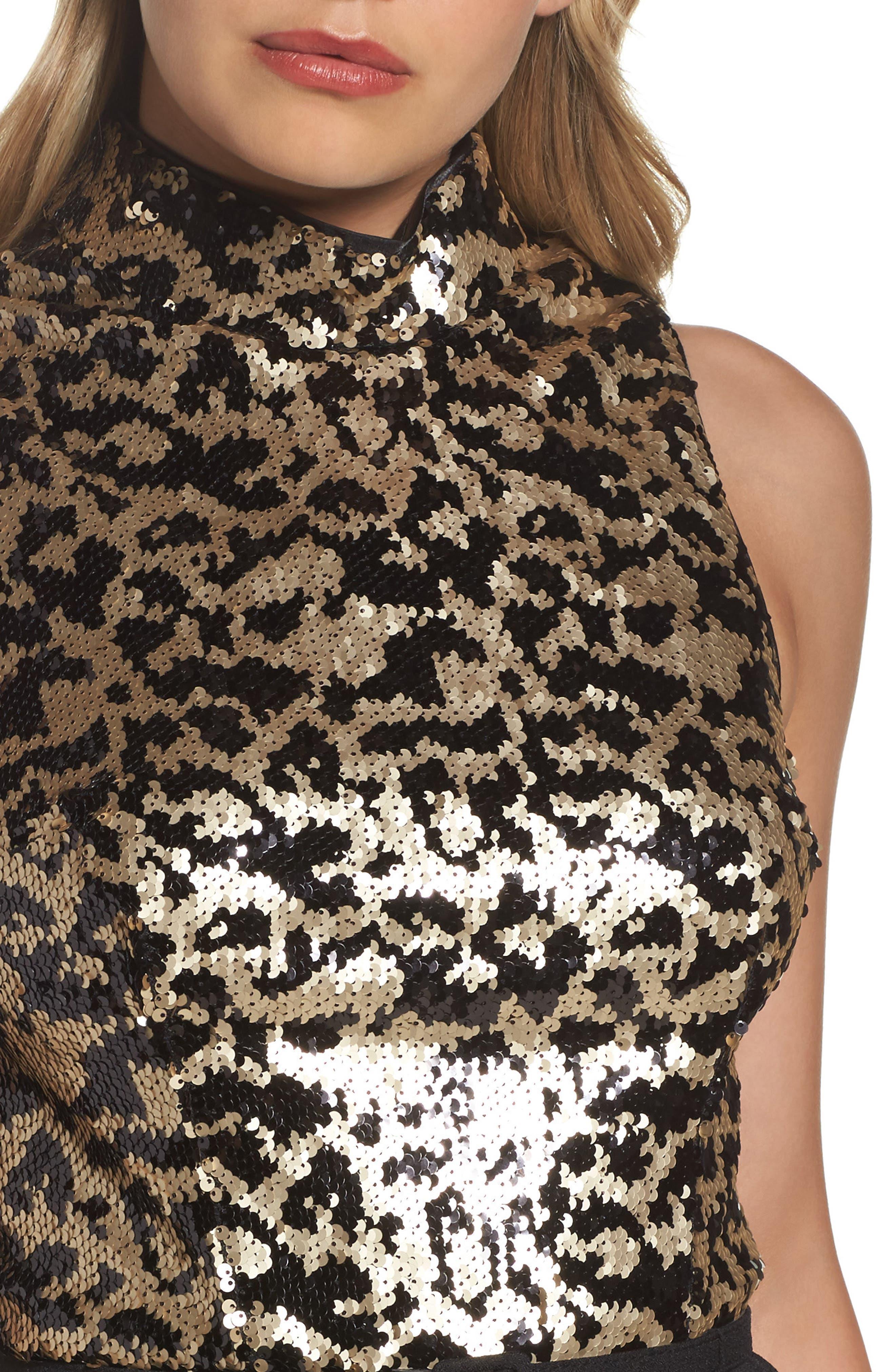 Alternate Image 4  - Vince Camuto Sequin Leopard Bodice Belted Jumpsuit