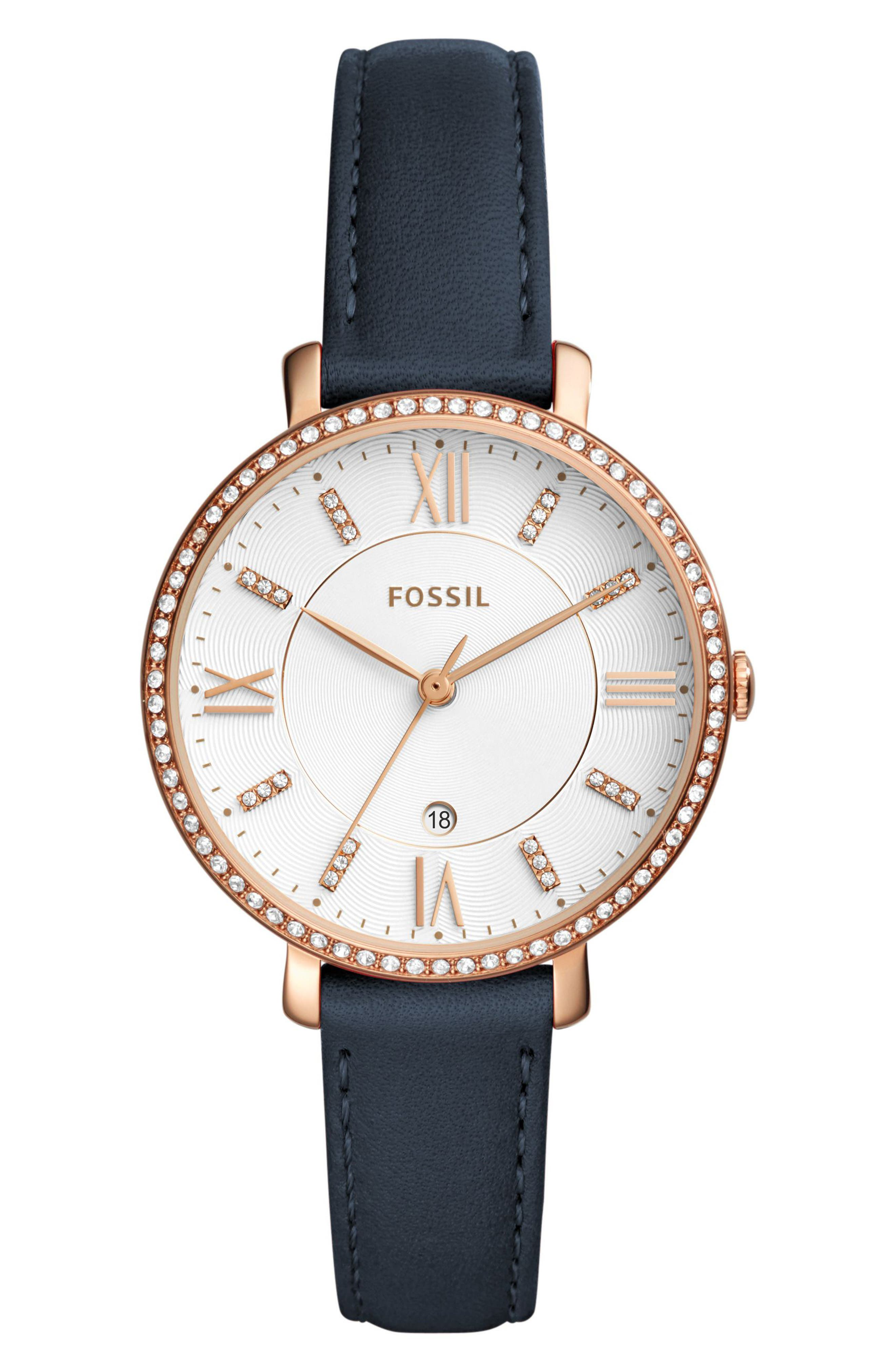 Jacqueline Leather Strap Watch, 36mm,                         Main,                         color, Navy/ White/ Rose Gold