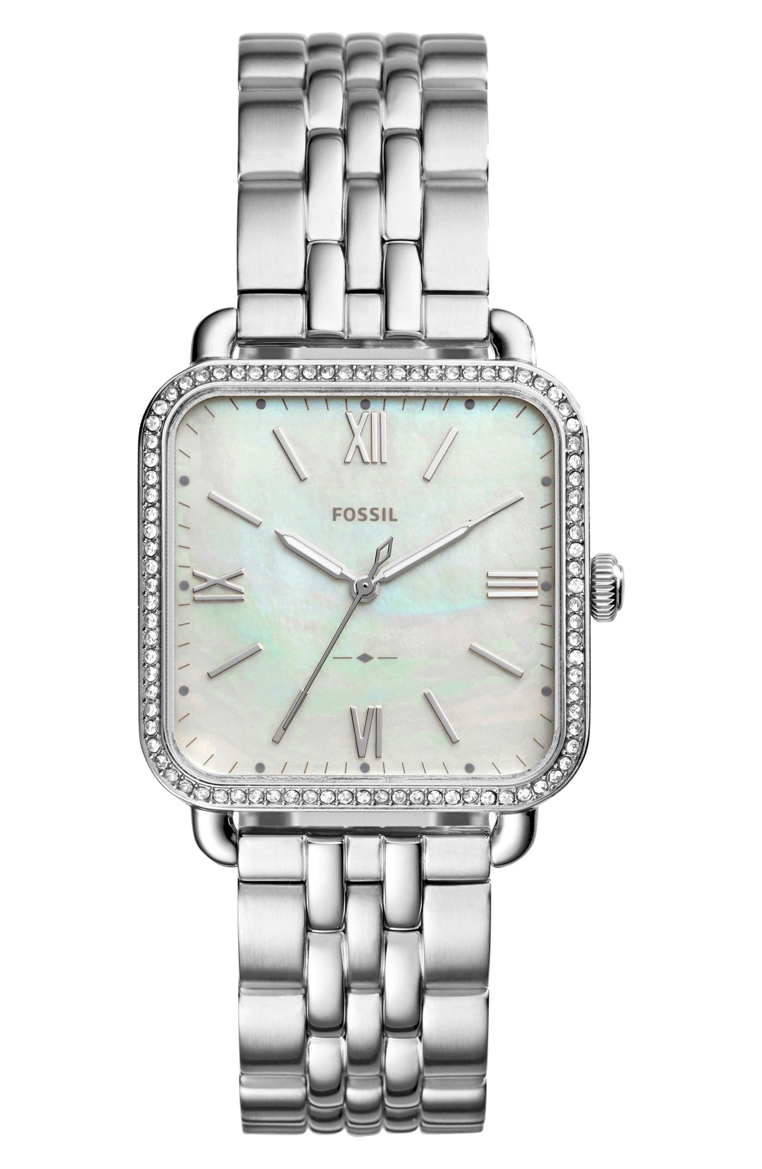 Micah Square Bracelet Watch, 32mm x 32mm,                         Main,                         color, Silver/ White/ Silver