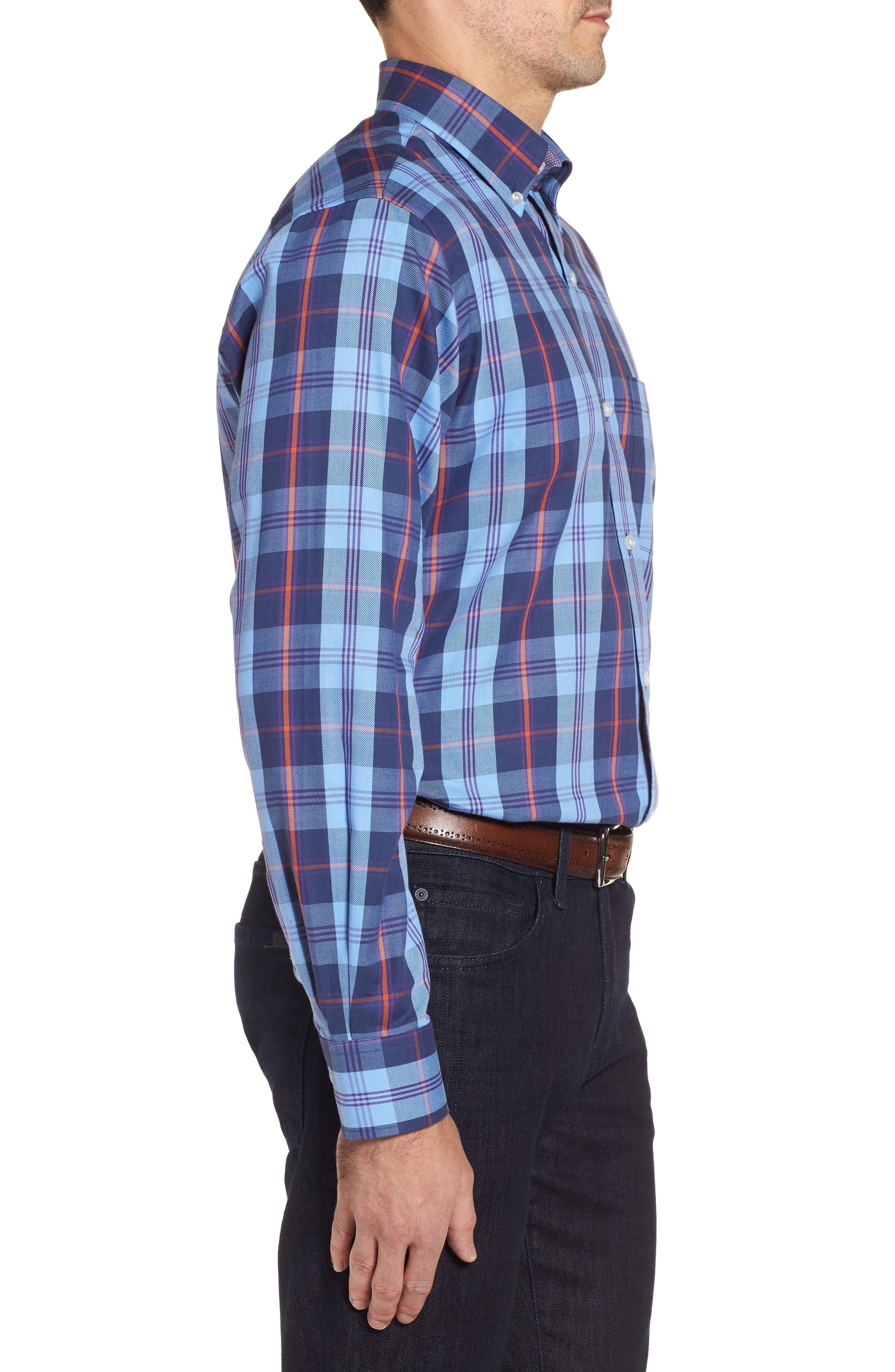 Chauvin Regular Fit Plaid Sport Shirt,                             Alternate thumbnail 3, color,                             Navy