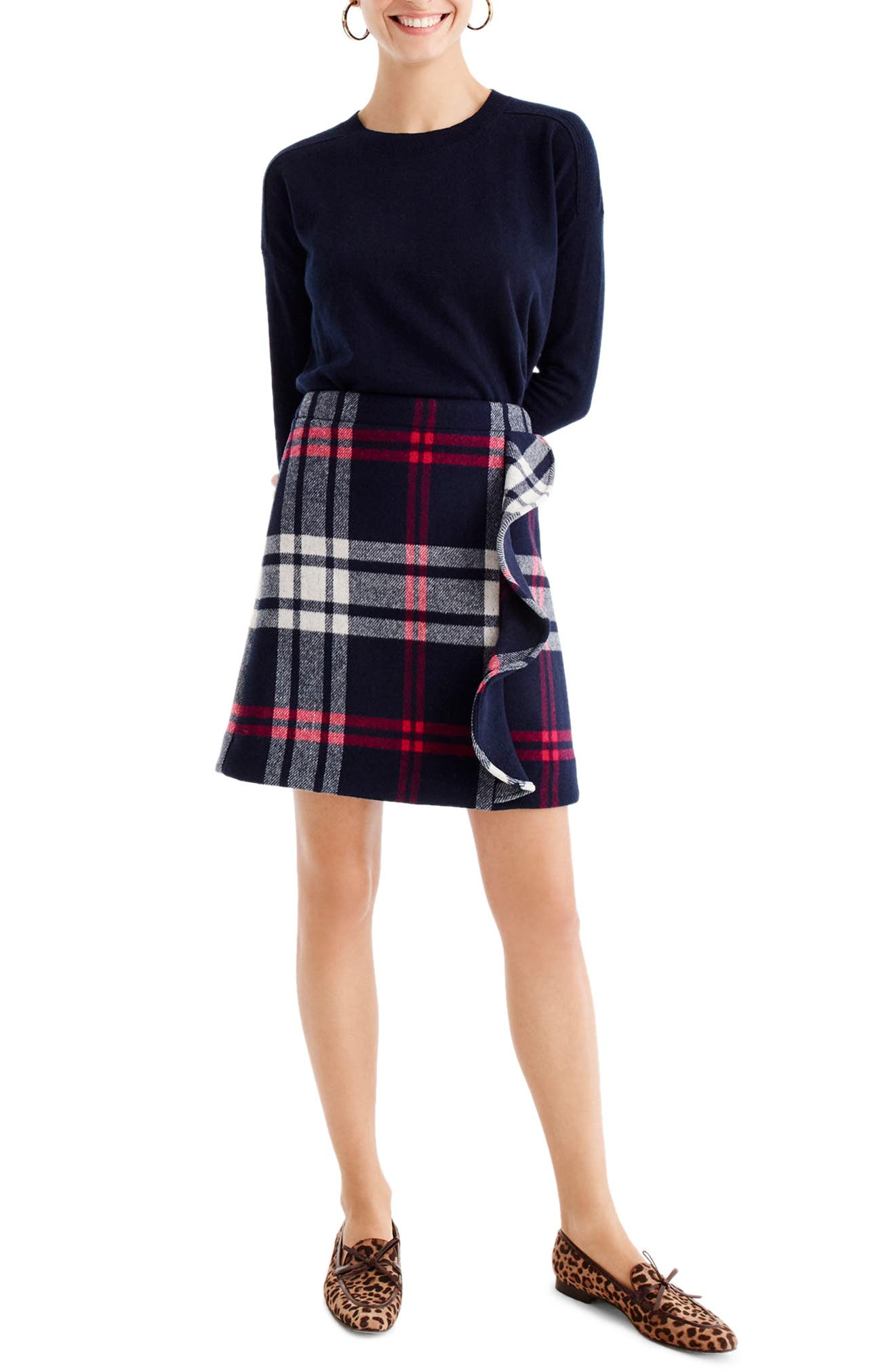 Plaid Ruffle Double-Serge Wool Mini Skirt,                         Main,                         color, Red Navy White