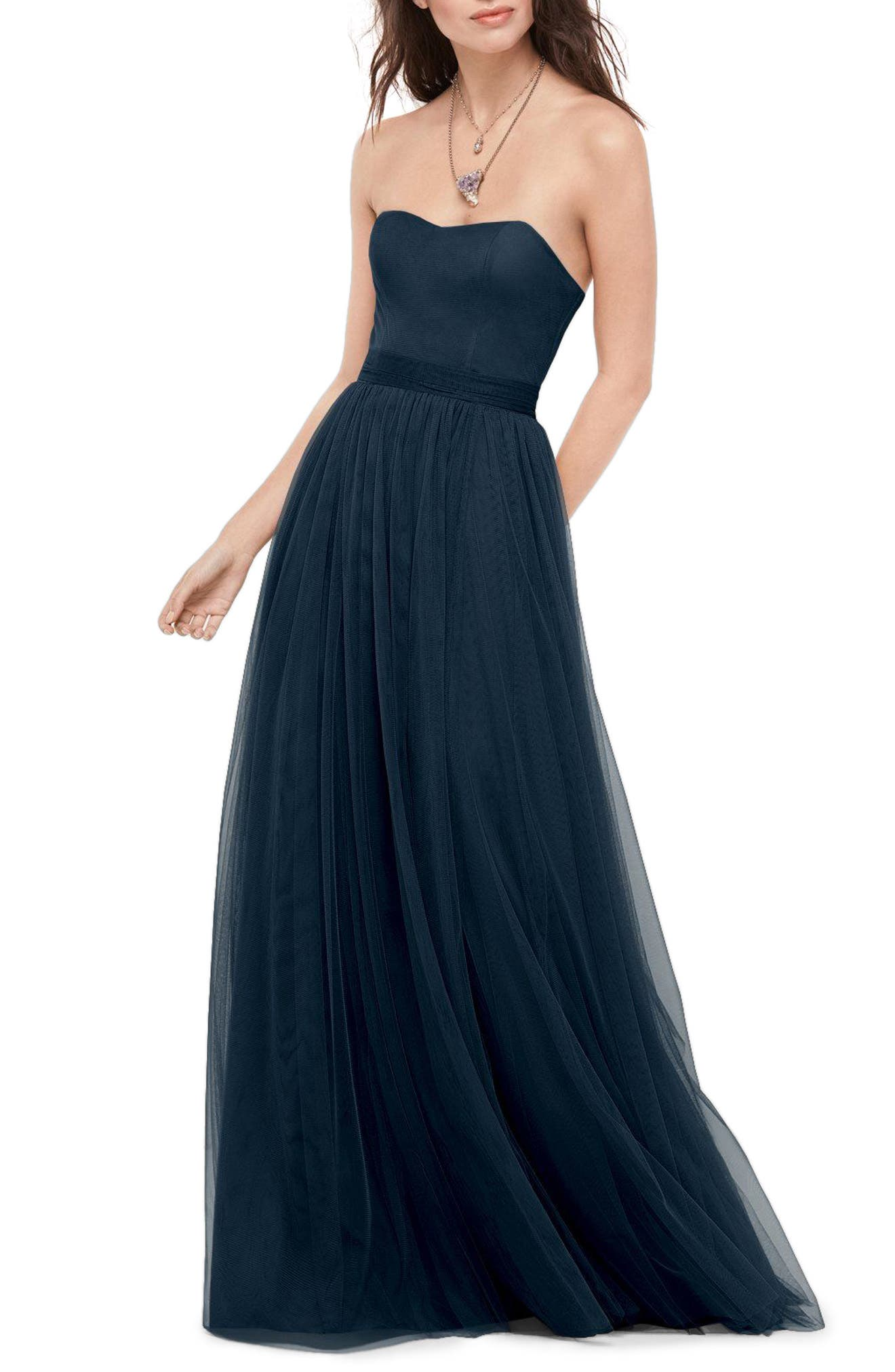 Bobbinet Strapless Gown,                             Main thumbnail 1, color,                             Indigo