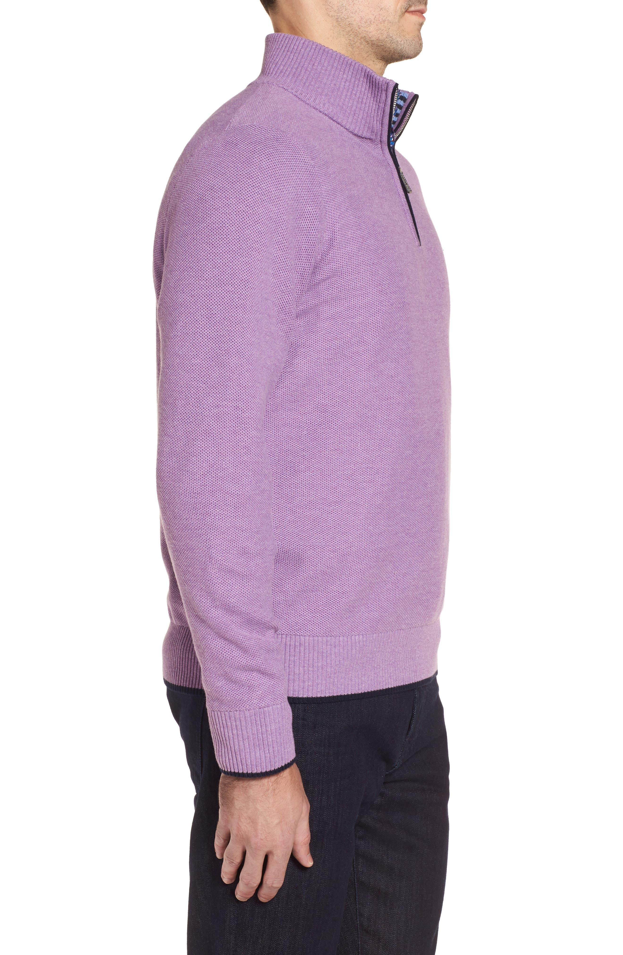 Alternate Image 3  - TailorByrd Ossun Tipped Quarter Zip Sweater