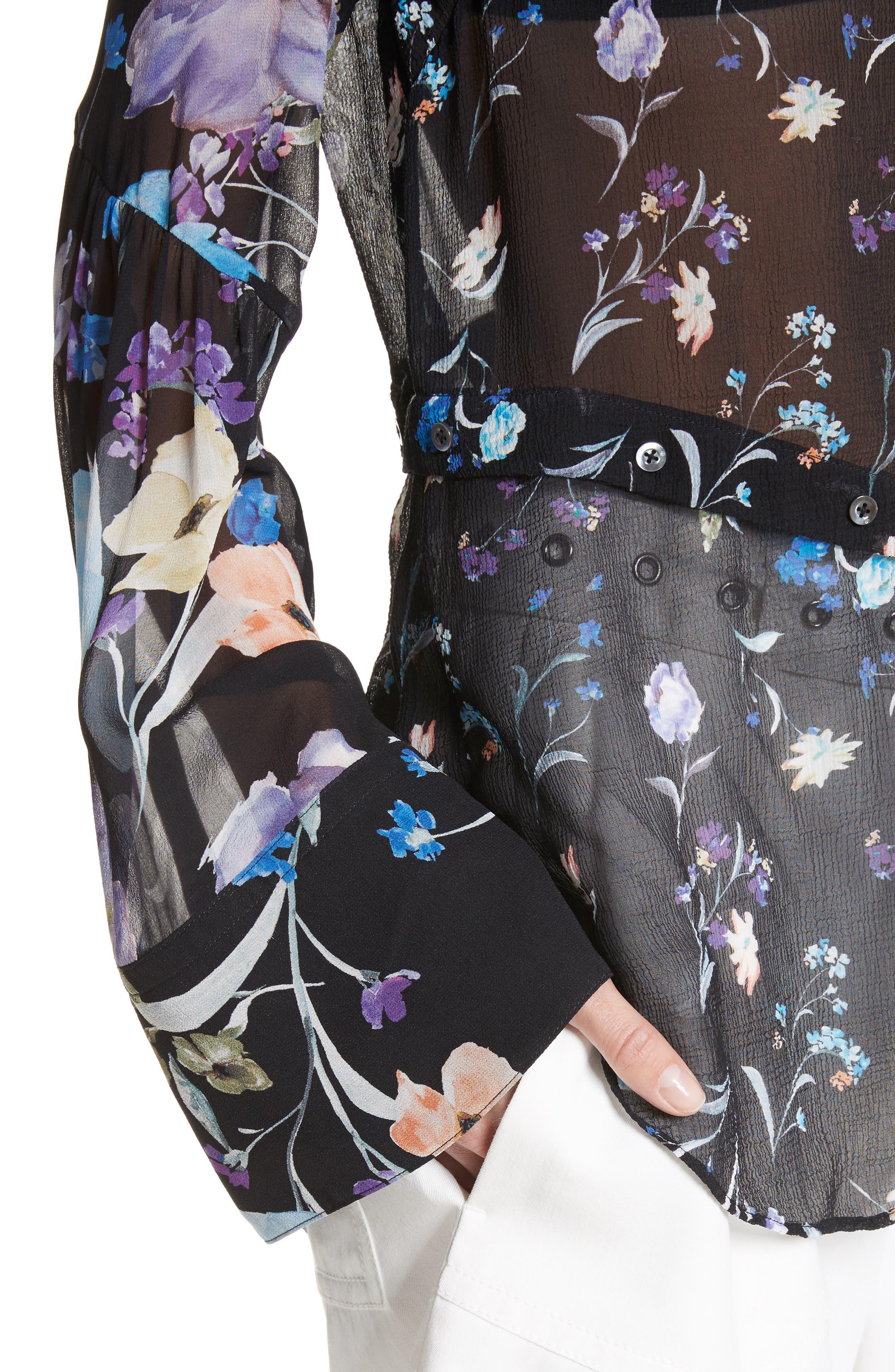 Bell Sleeve Silk Blouse,                             Alternate thumbnail 4, color,                             Black