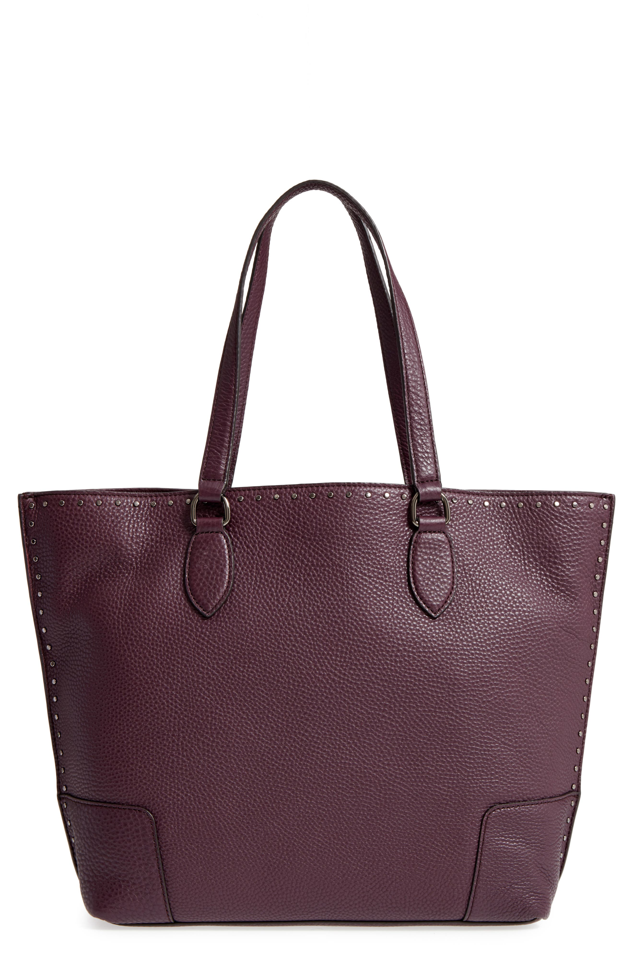 Moonwalking Leather Tote,                             Main thumbnail 1, color,                             Dark Cherry