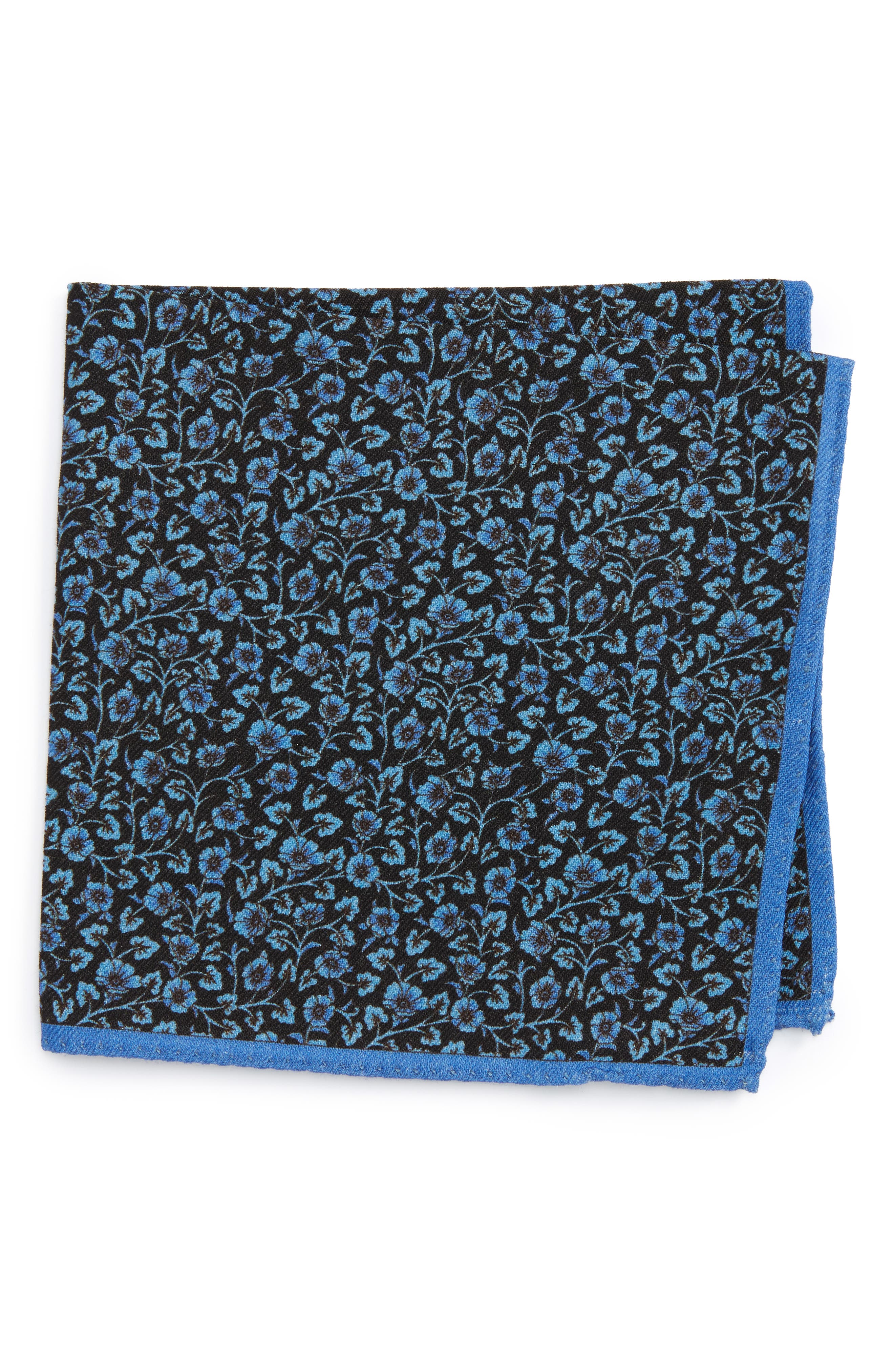 Clover Print Wool Pocket Square,                         Main,                         color, Navy