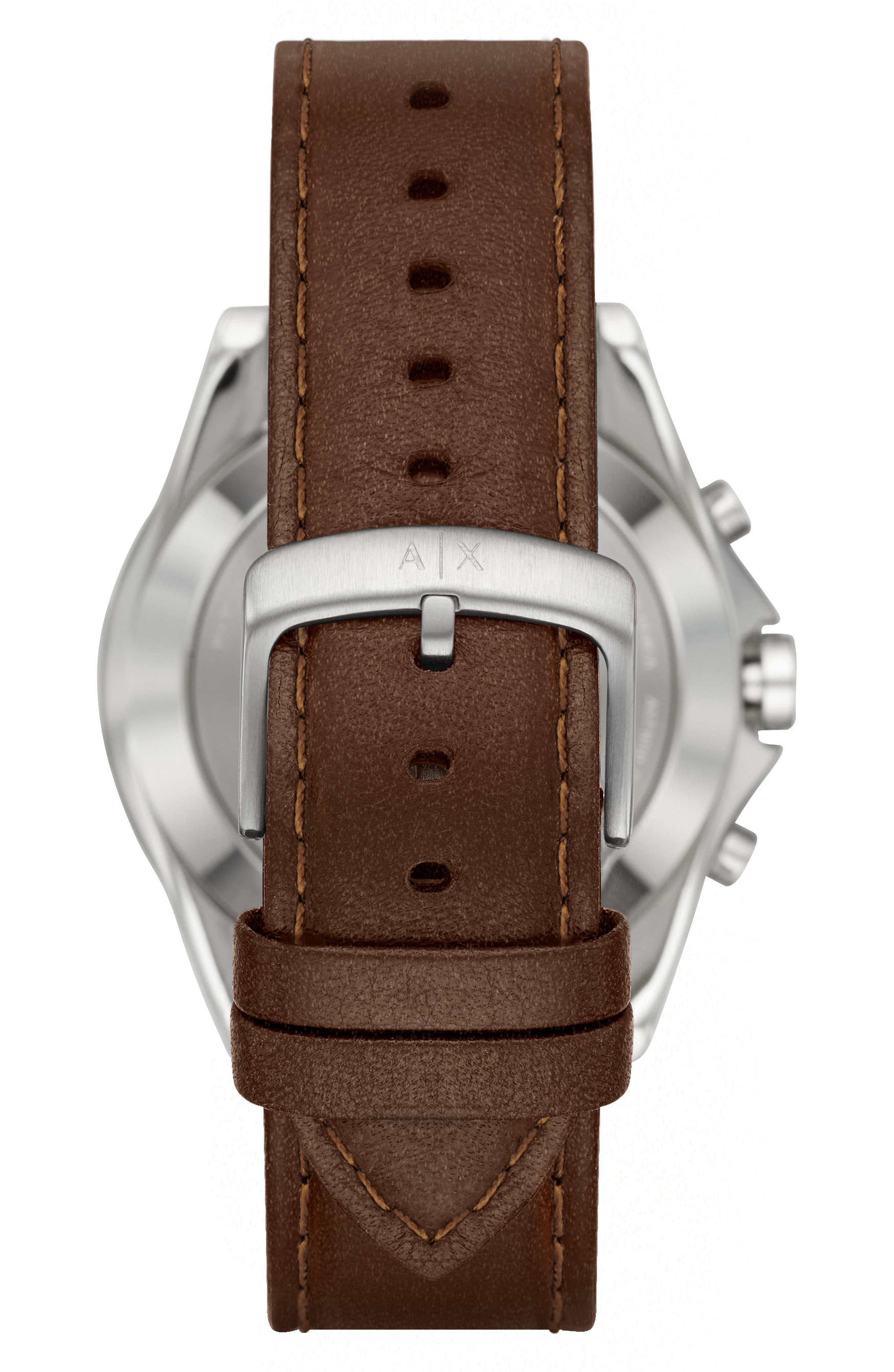 Connected Hybrid Leather Strap Smartwatch, 44mm,                             Alternate thumbnail 3, color,                             Navy/ Brown