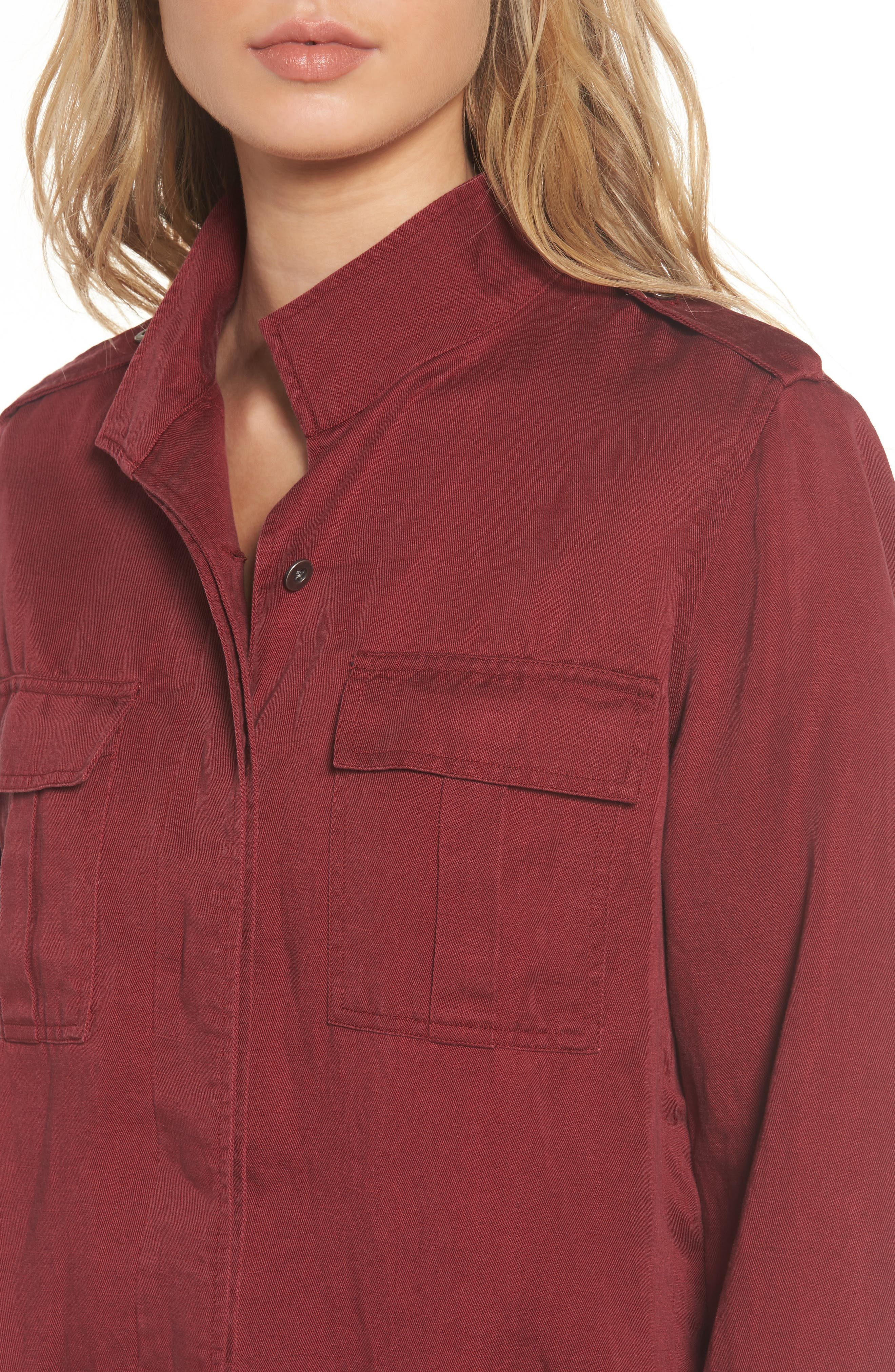 Maverick Military Jacket,                             Alternate thumbnail 4, color,                             Oxblood