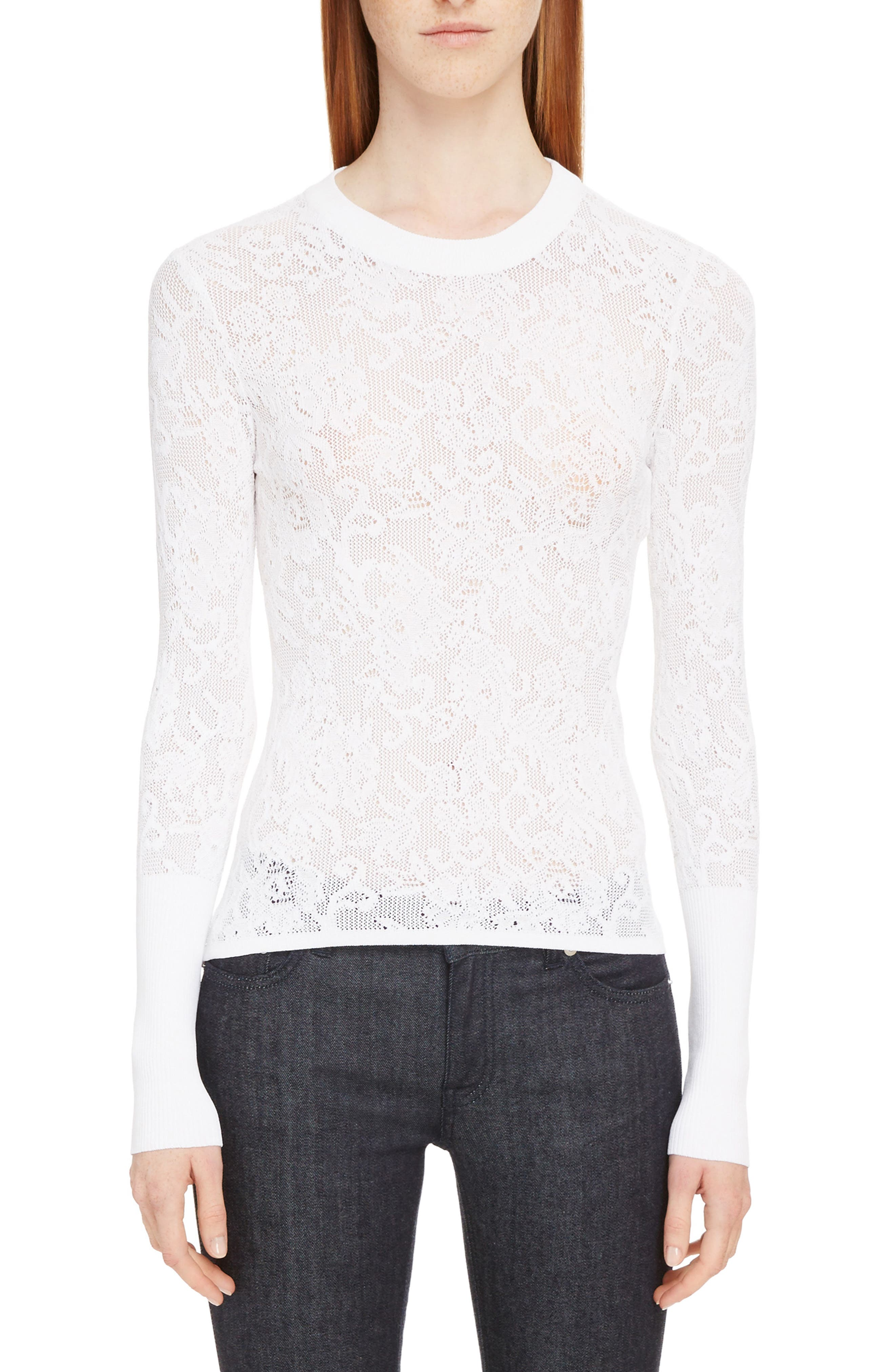 Lace Effect Pullover,                         Main,                         color, White