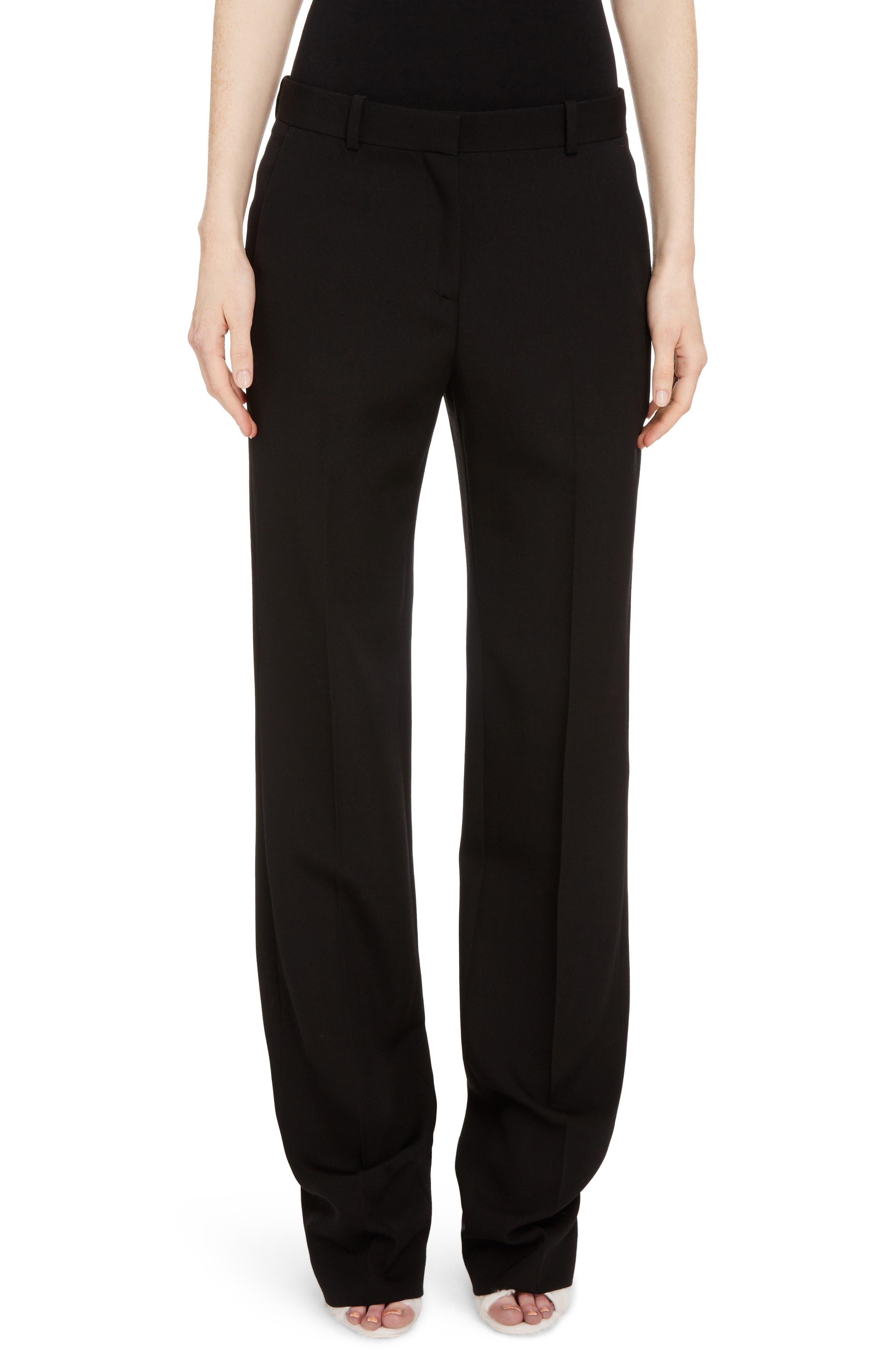 Wool Straight Leg Pants,                         Main,                         color, Black