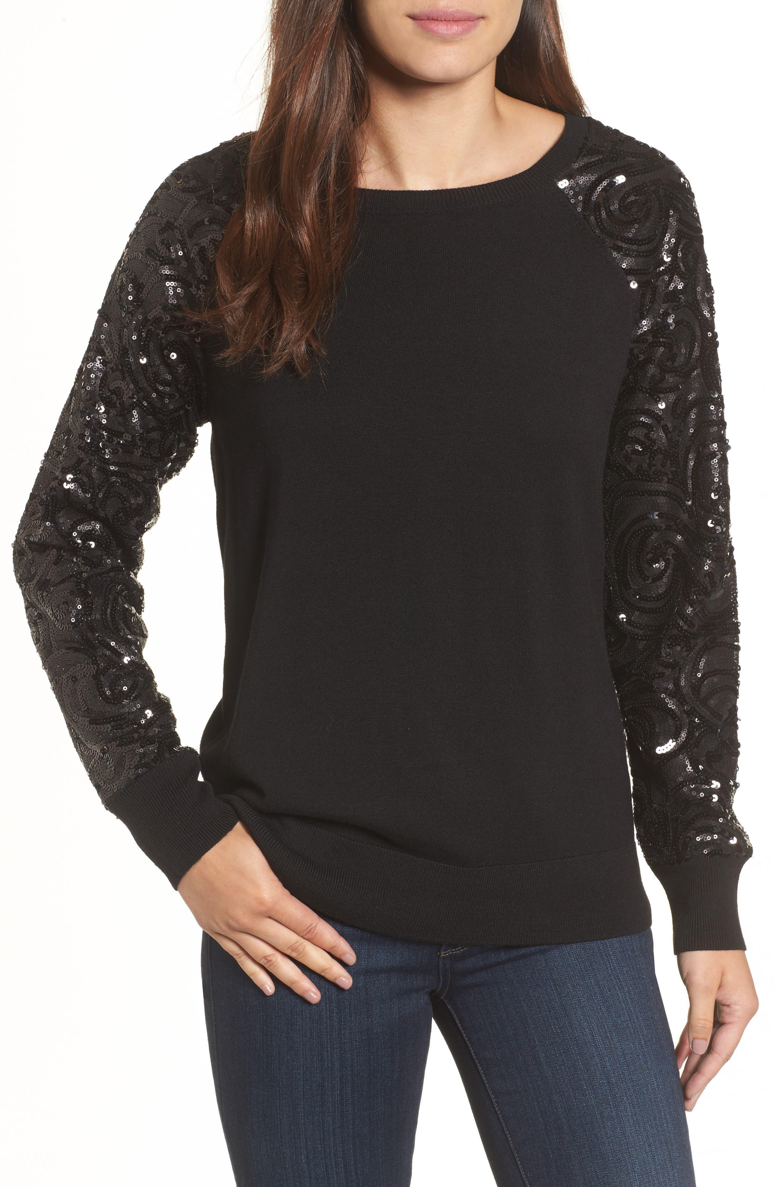 Halogen® Sequin Sleeve Sweatshirt (Regular & Petite)