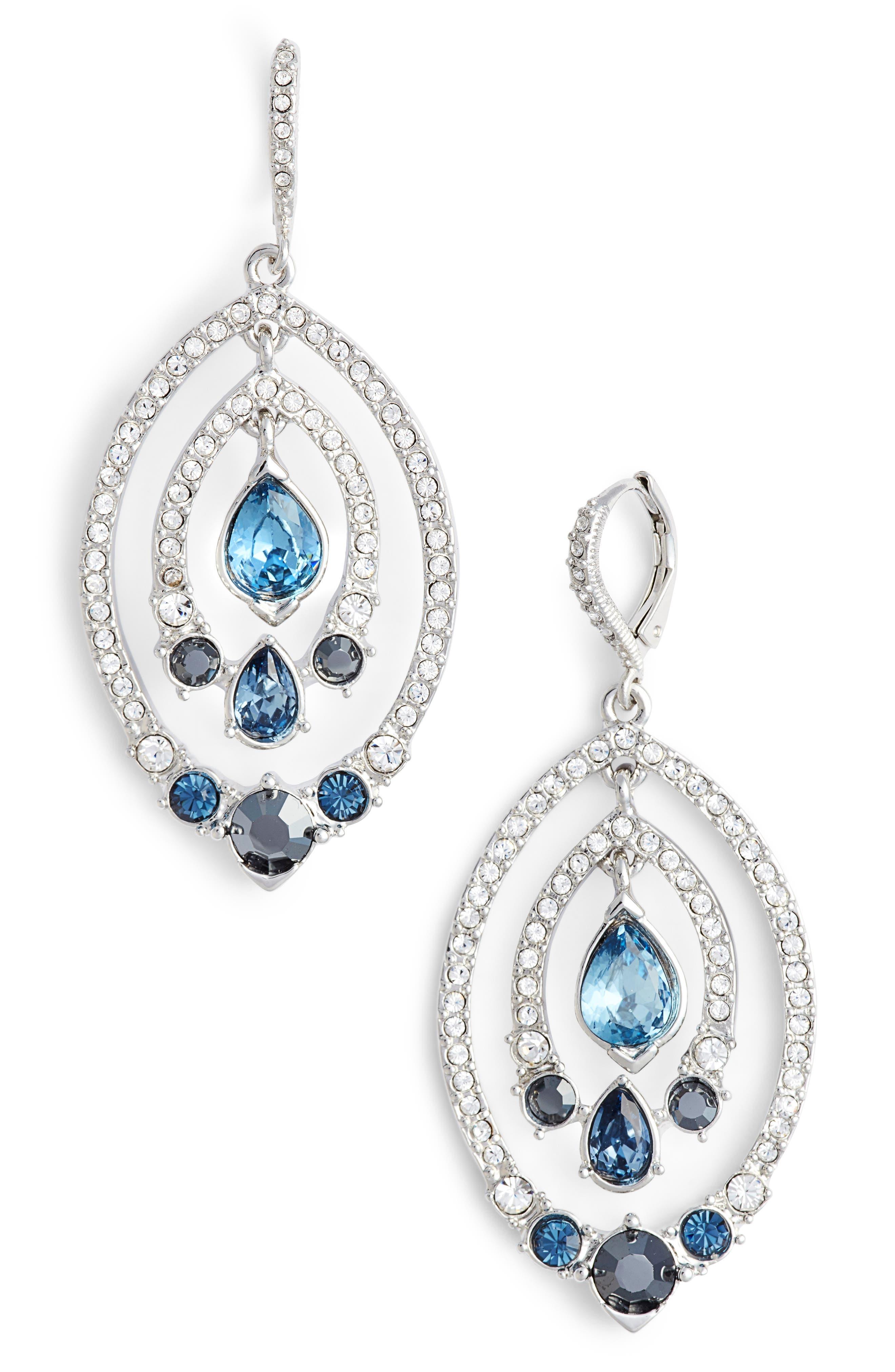 Orbiting Drop earrings,                             Main thumbnail 1, color,                             Silver/ Crystal/ Blue Multi