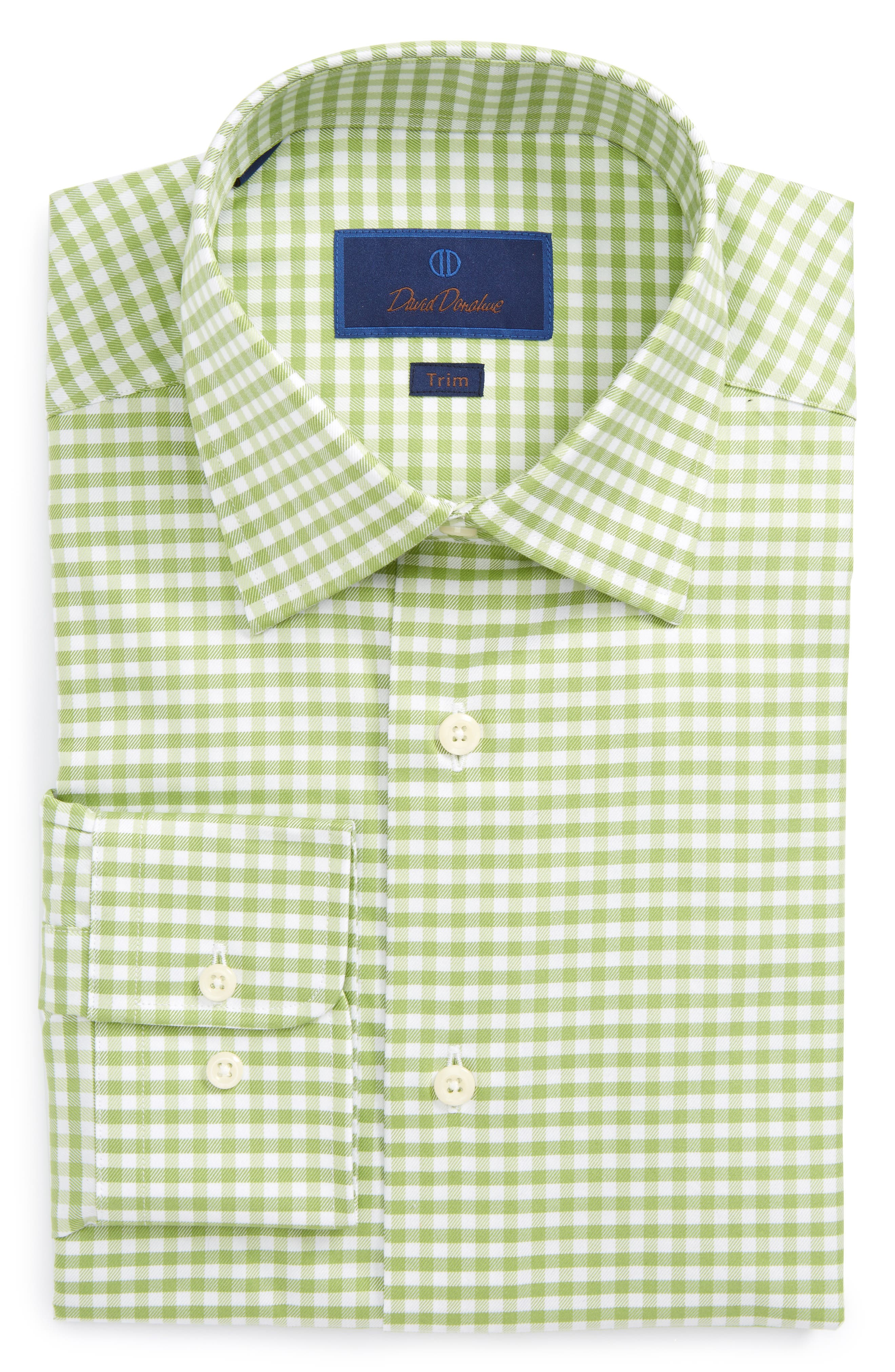 David Donahue Trim Fit Gingham Dress Shirt