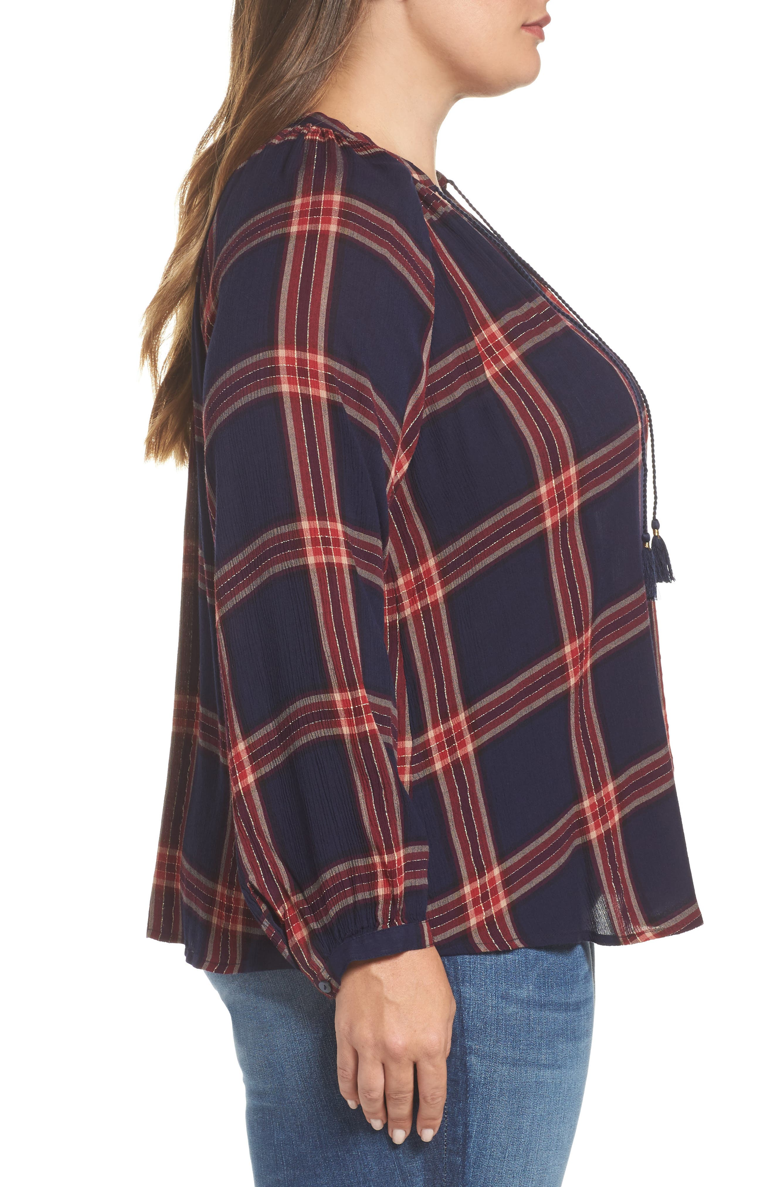 Alternate Image 3  - Lucky Brand Plaid Cotton Peasant Top (Plus Size)