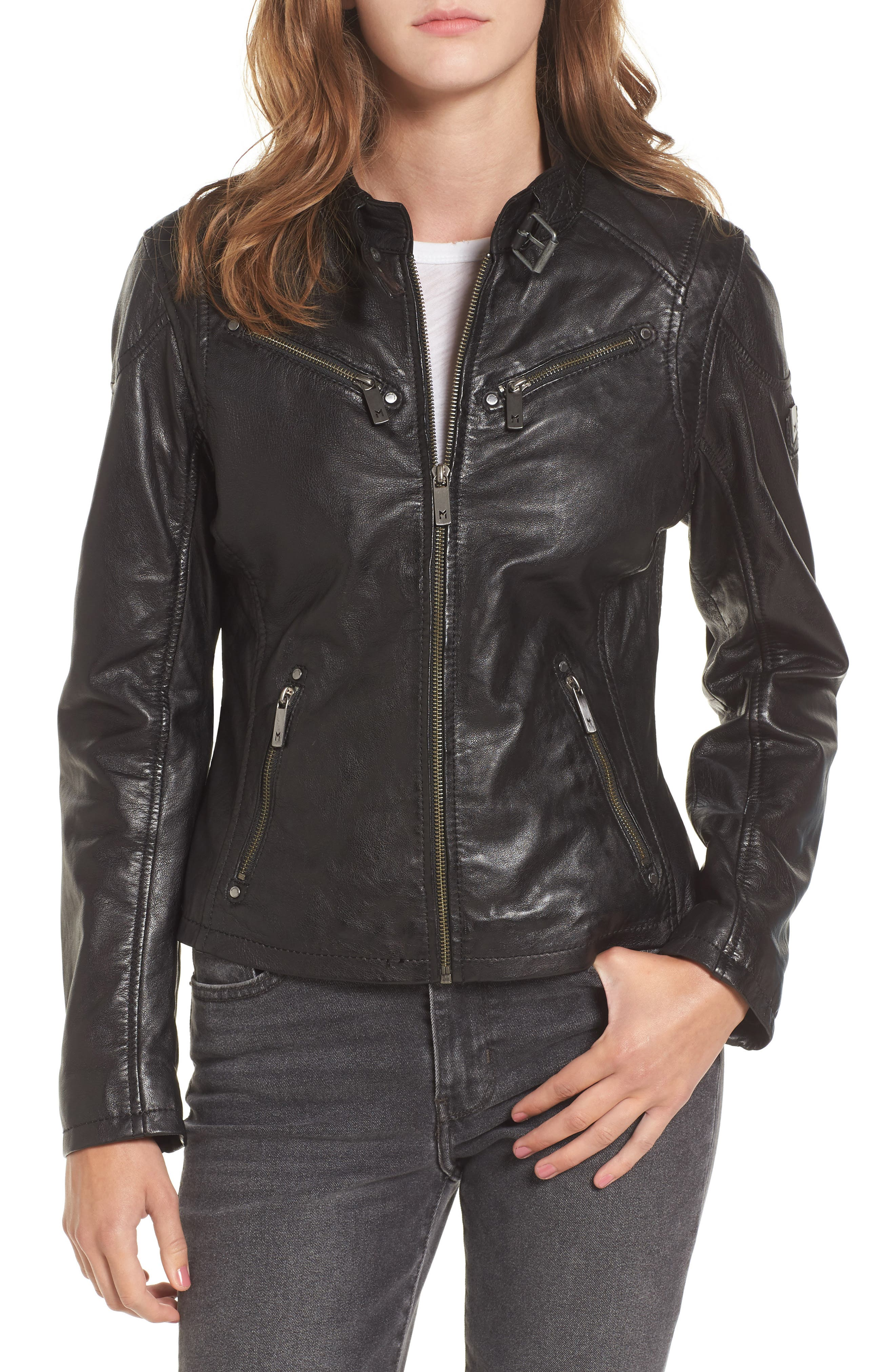 Leather Lambskin Leather Moto Jacket,                             Main thumbnail 1, color,                             Black