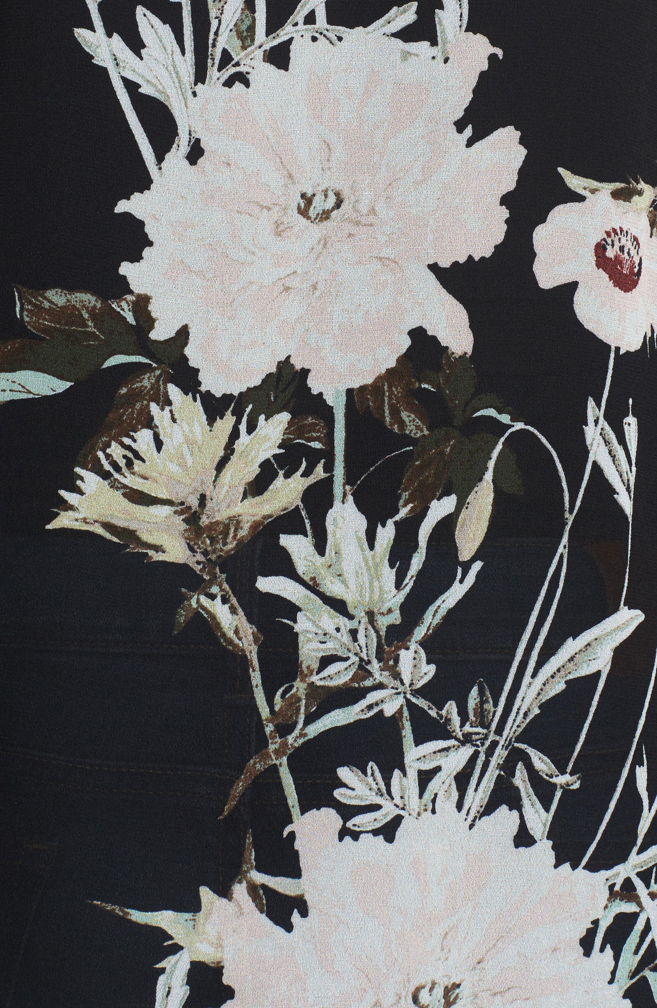 Floral Print Bell Sleeve Top,                             Alternate thumbnail 5, color,                             Black Multi