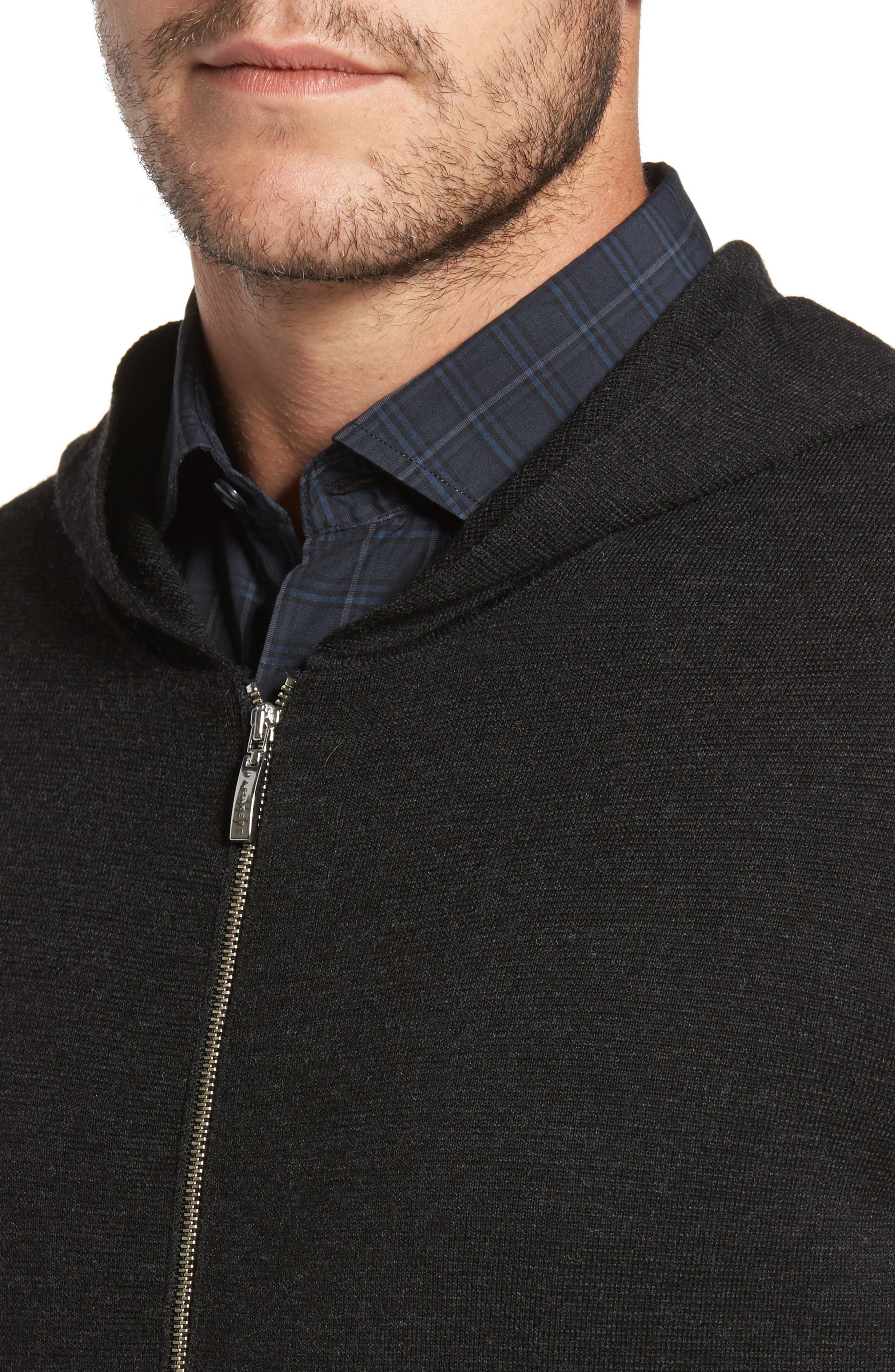 Carmichael Full Zip Merino Wool Hoodie,                             Alternate thumbnail 4, color,                             Titanium