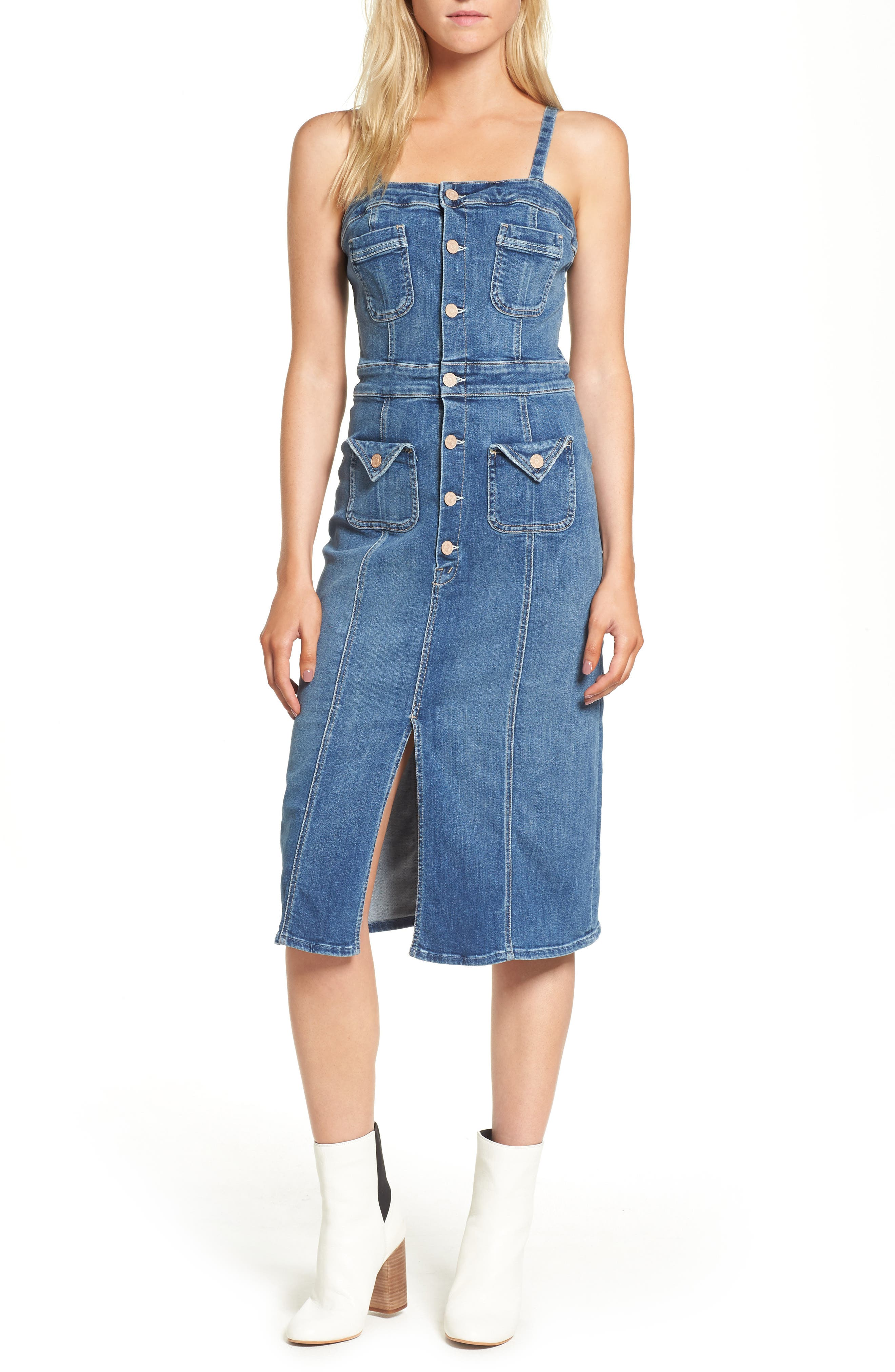To the Point Denim Midi Dress,                         Main,                         color, Racing Heart