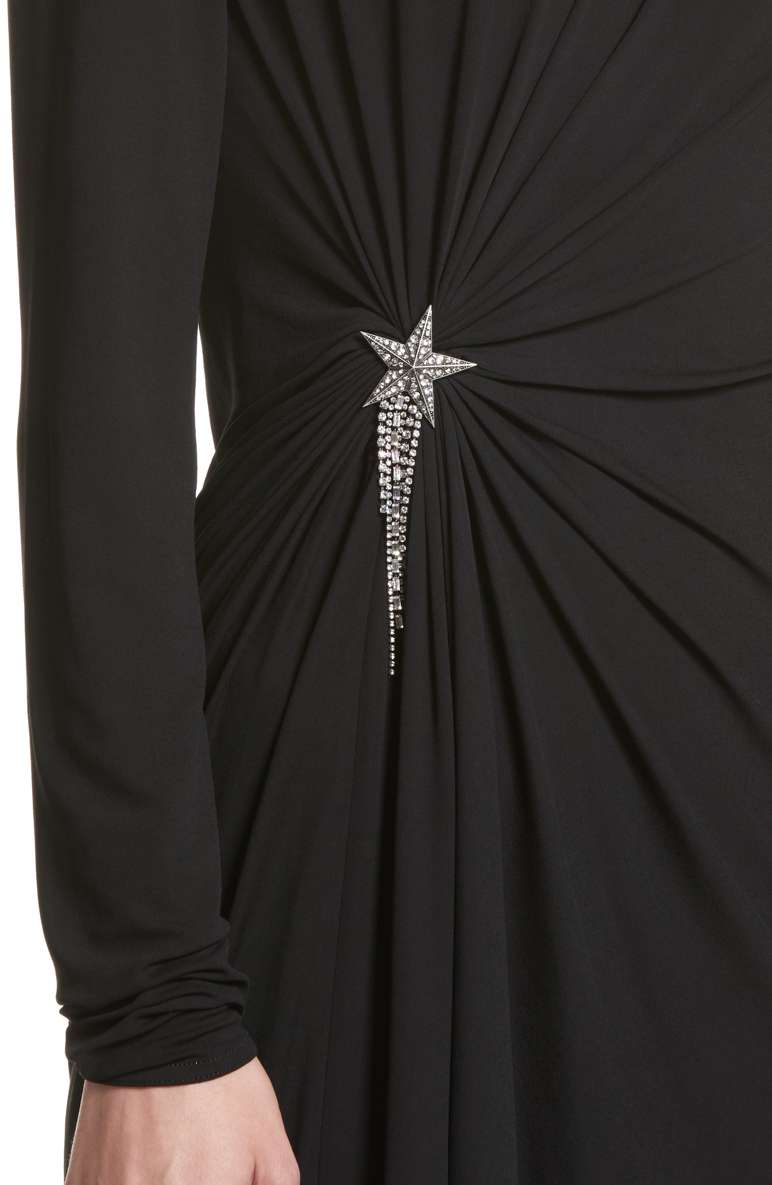Ruched Side Drape Jersey Dress,                             Alternate thumbnail 4, color,                             Black