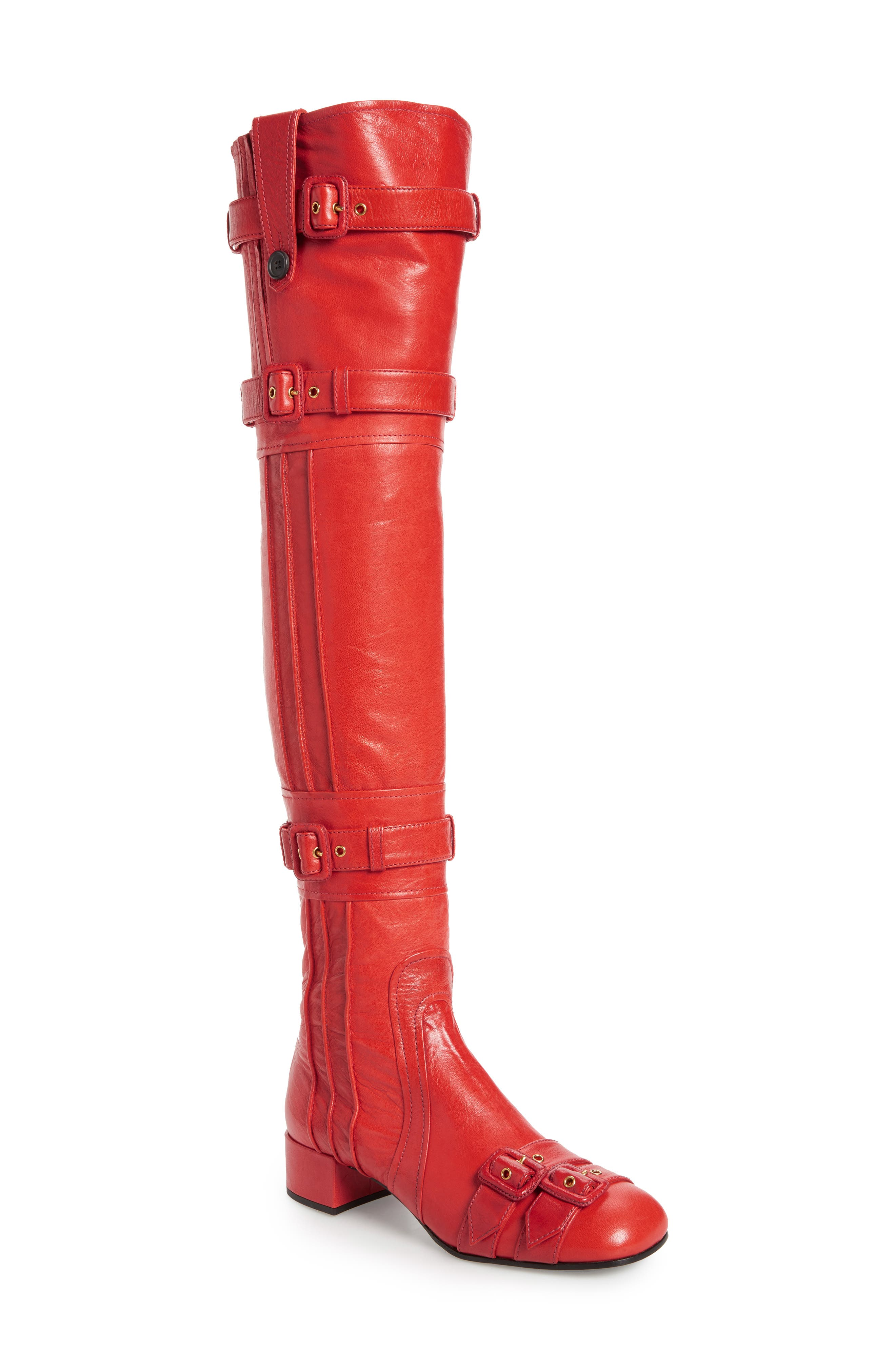 Over the Knee Boot,                             Main thumbnail 1, color,                             Red Leather
