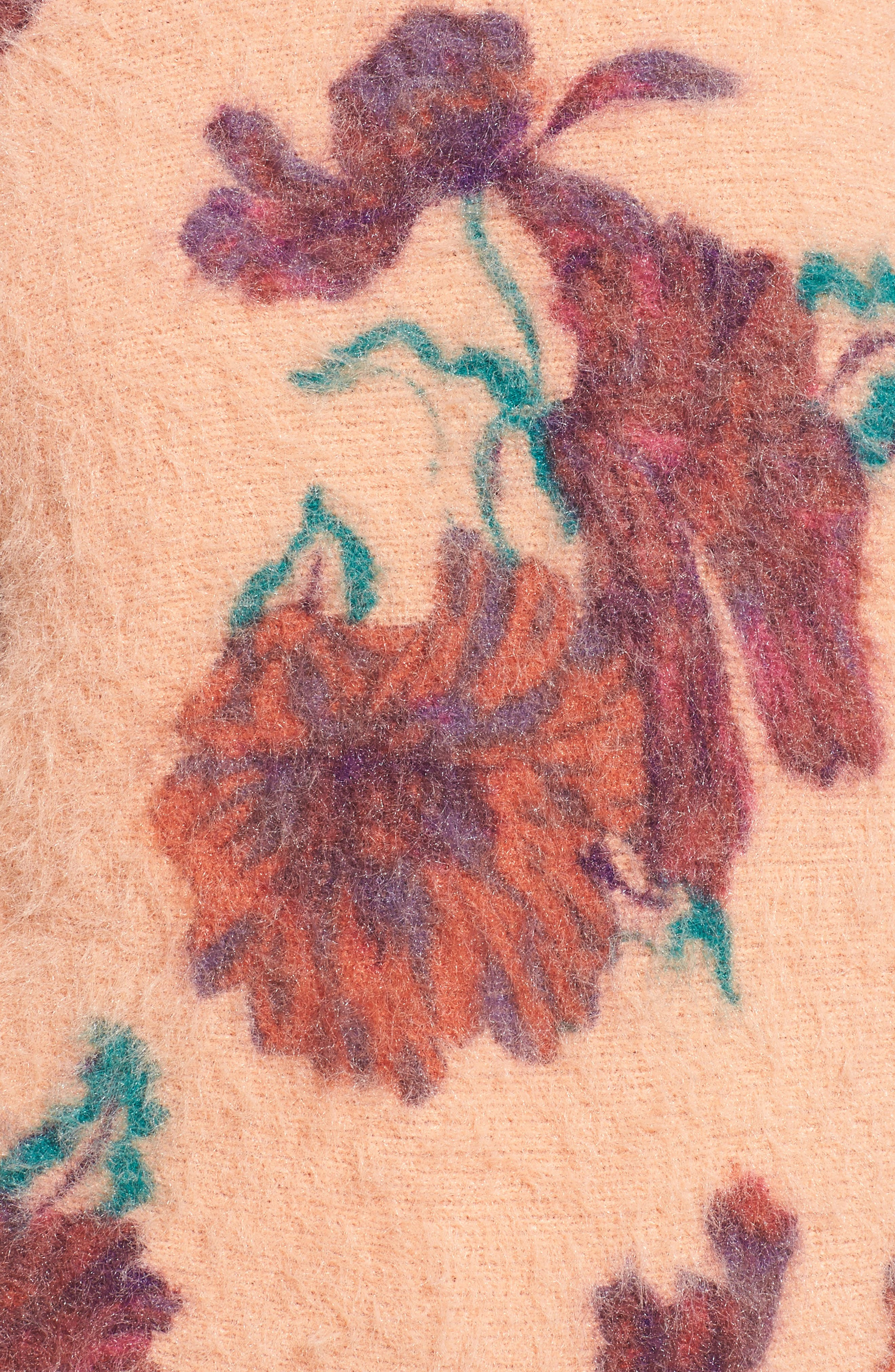 Fluffy Pullover,                             Alternate thumbnail 5, color,                             Coral Muted Expressive Floral
