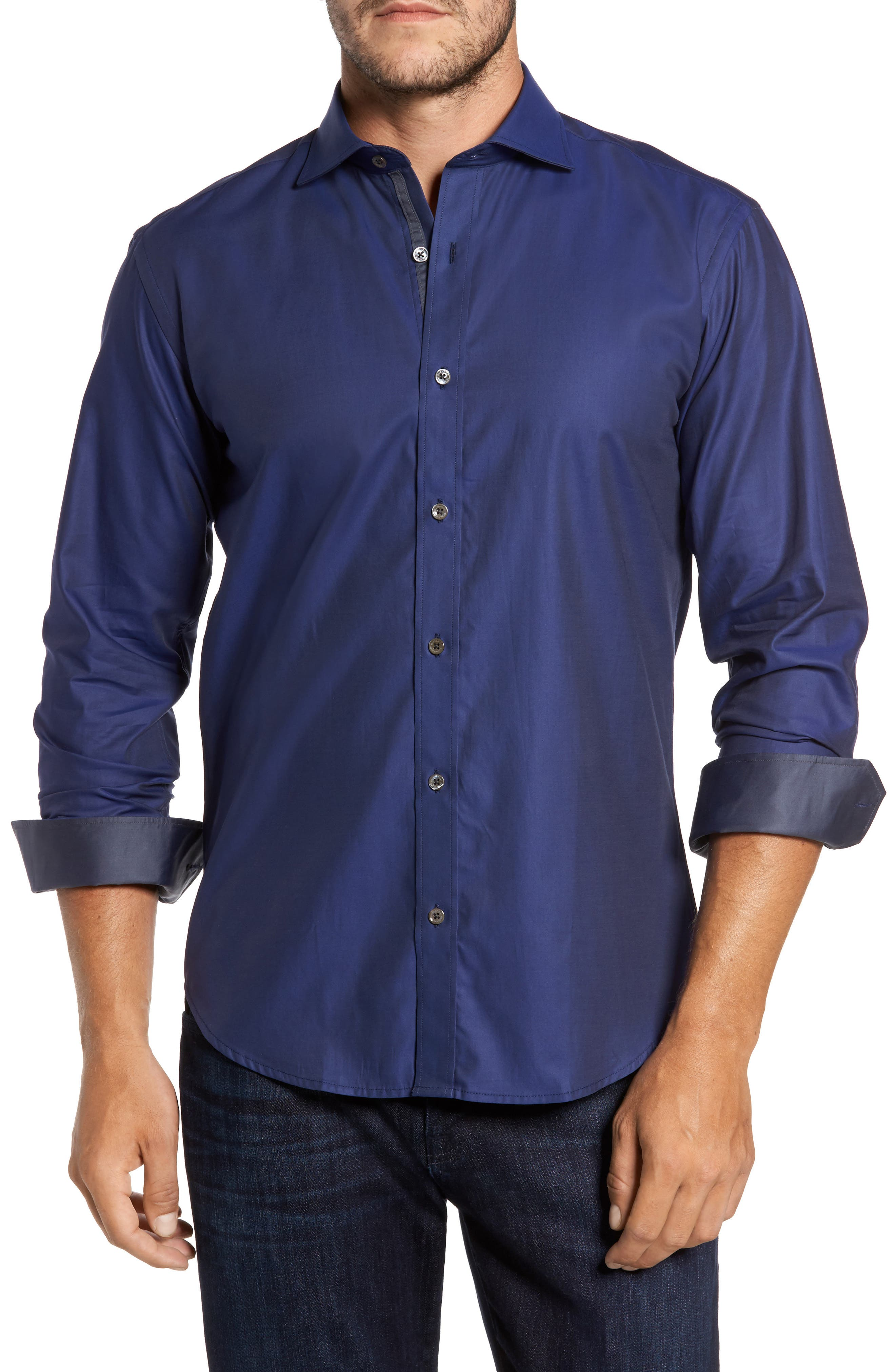 Alternate Image 1 Selected - Bugatchi Trim Fit Solid Sport Shirt