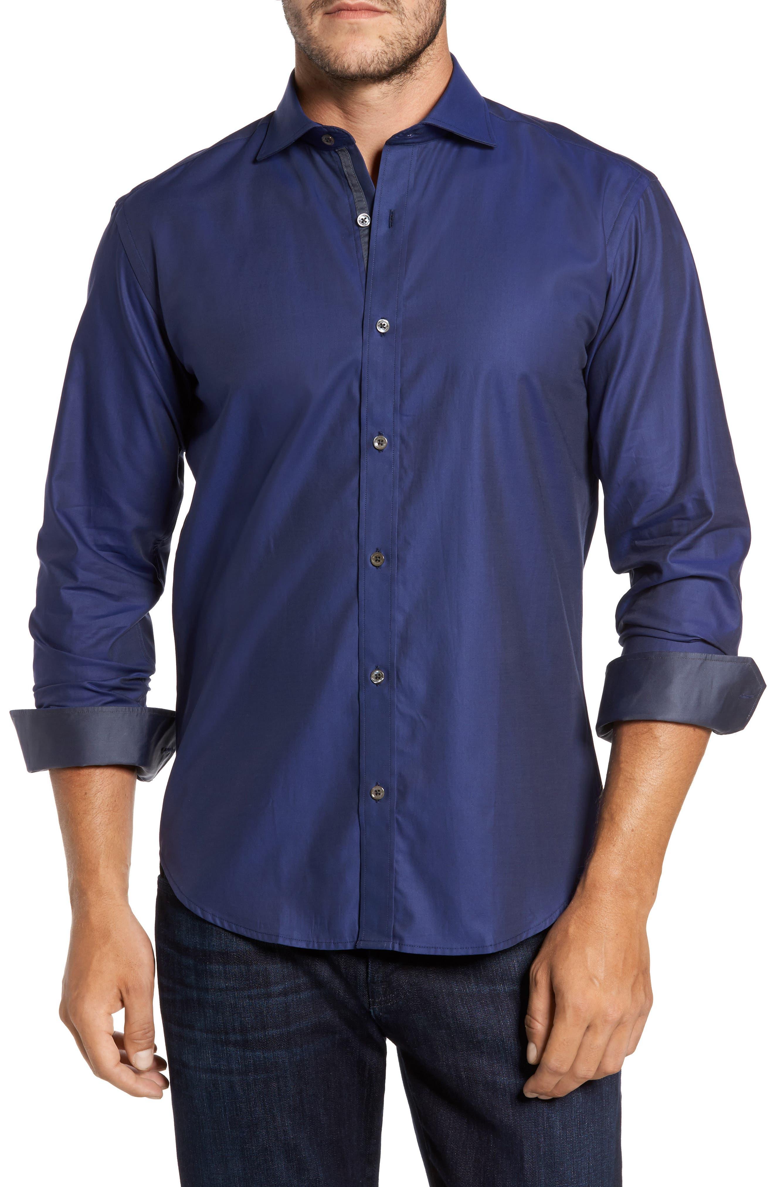 Trim Fit Solid Sport Shirt,                         Main,                         color, Navy
