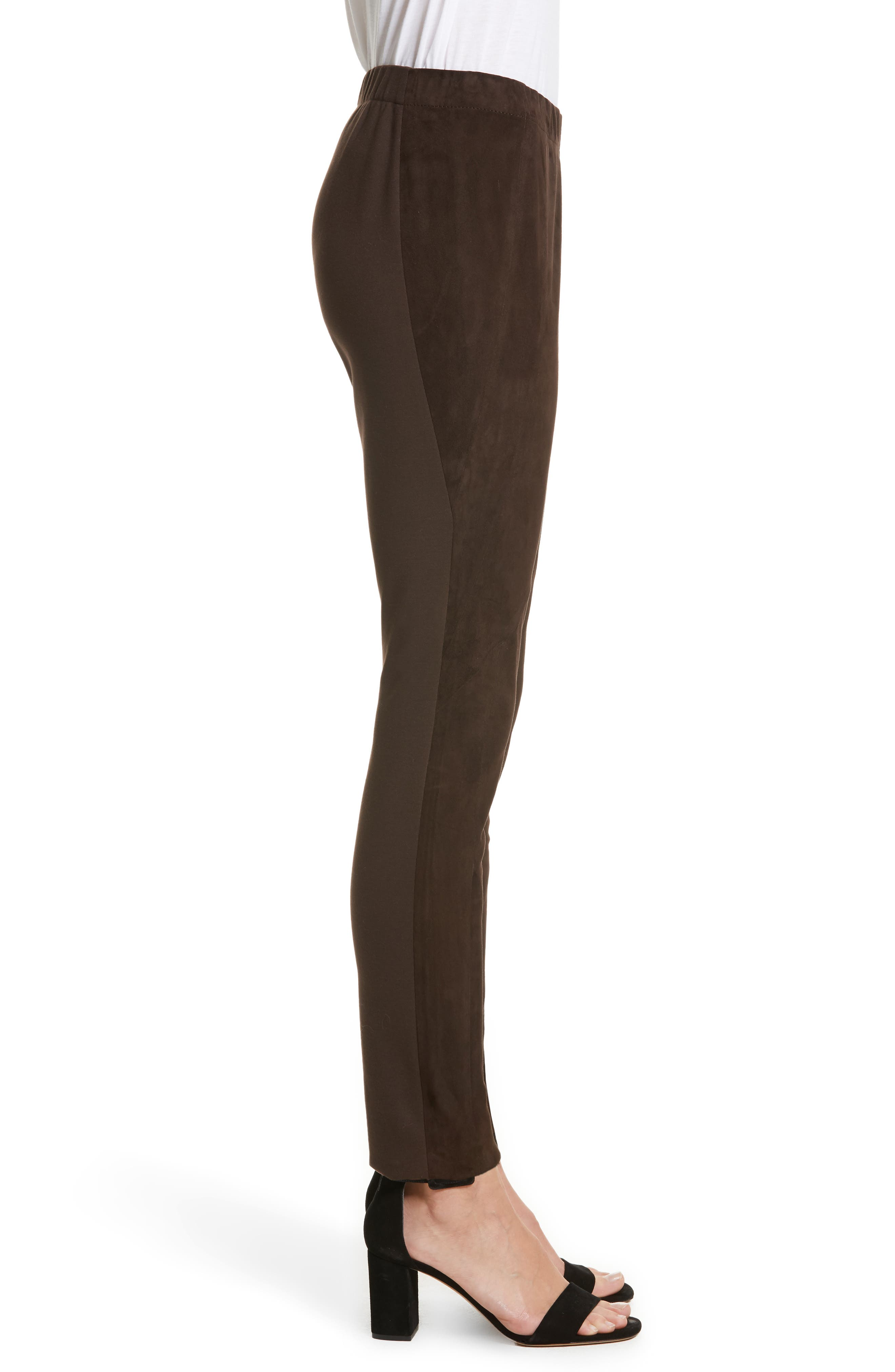 Alternate Image 4  - Lafayette 148 New York Suede Front Punto Milano Riding Leggings
