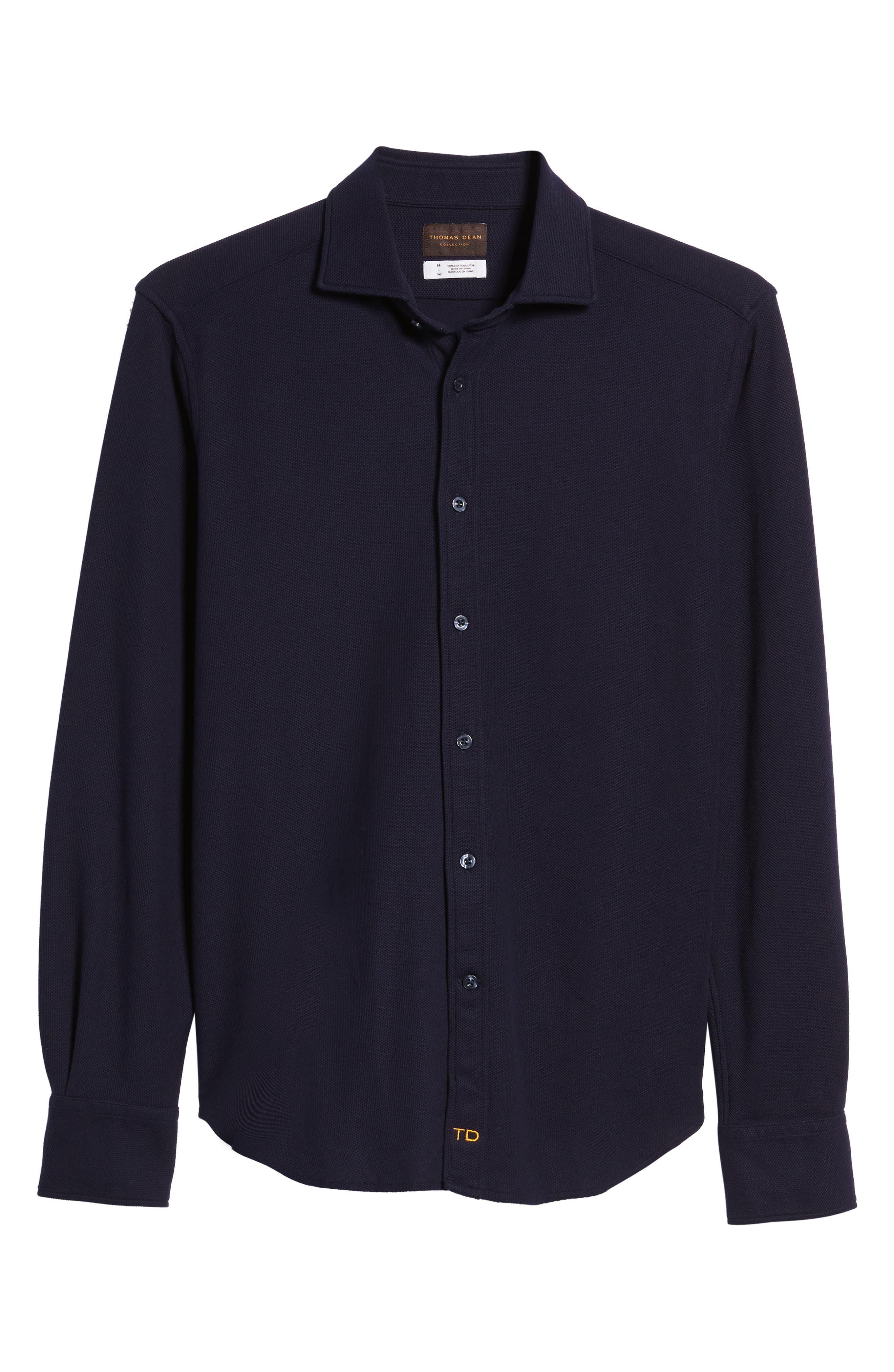 Regular Fit Herringbone Sport Shirt,                             Alternate thumbnail 6, color,                             Indigo