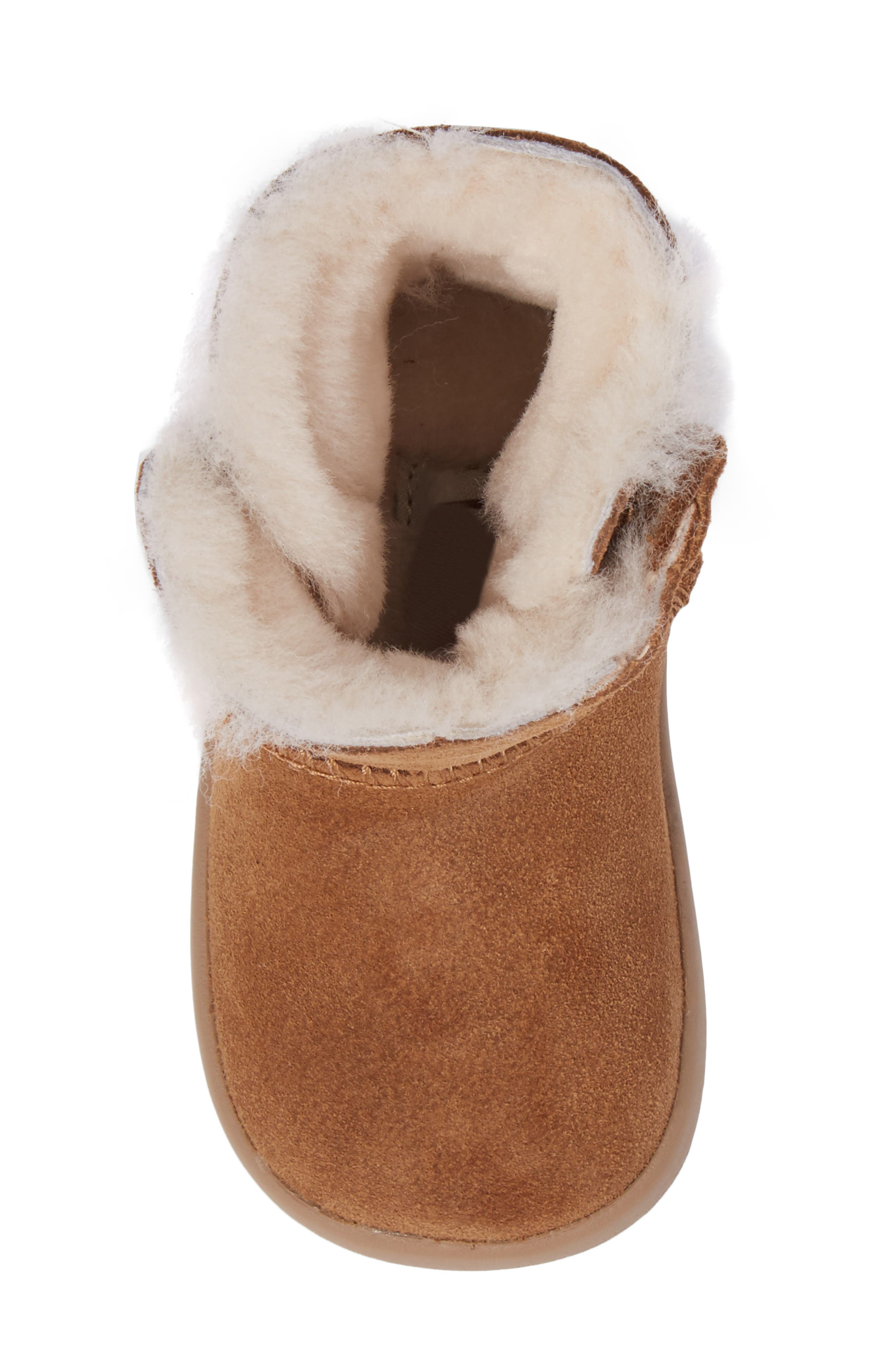 Keelan Genuine Shearling Baby Bootie,                             Alternate thumbnail 5, color,                             Chestnut Brown
