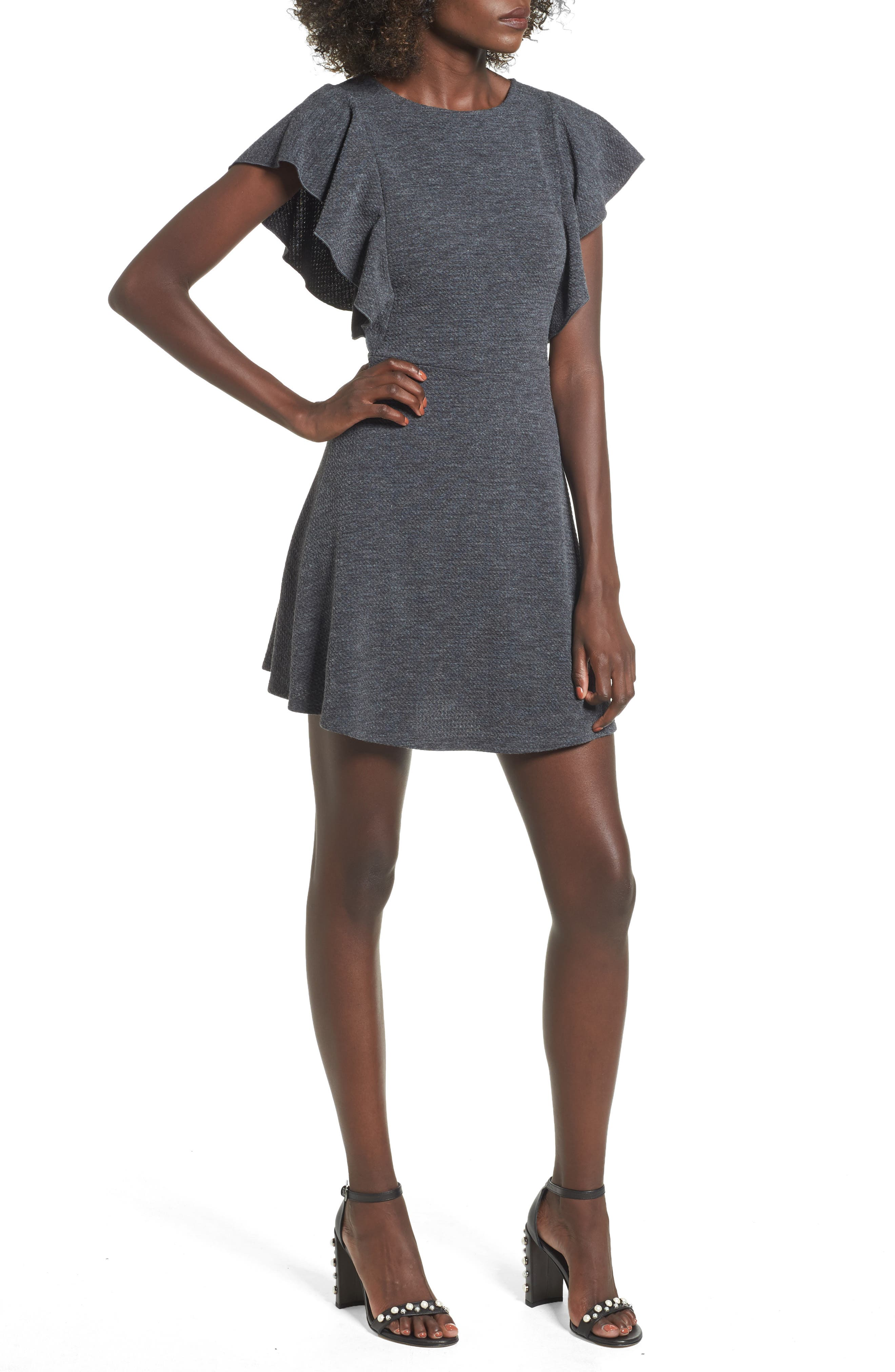Ruffle Sleeve Knit Minidress,                         Main,                         color, Charcoal