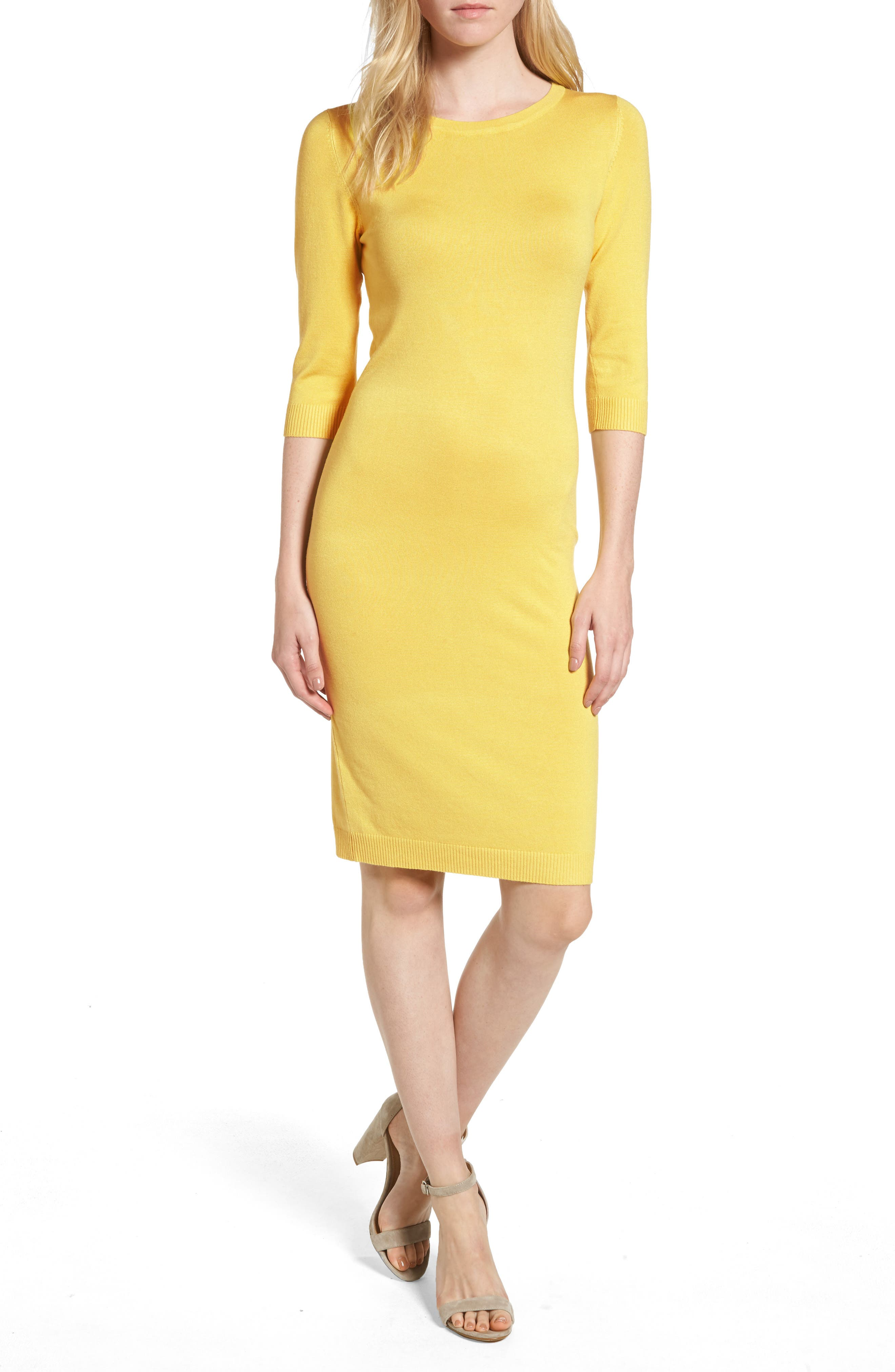 Elbow Sleeve Sweater Dress,                         Main,                         color, Yellow