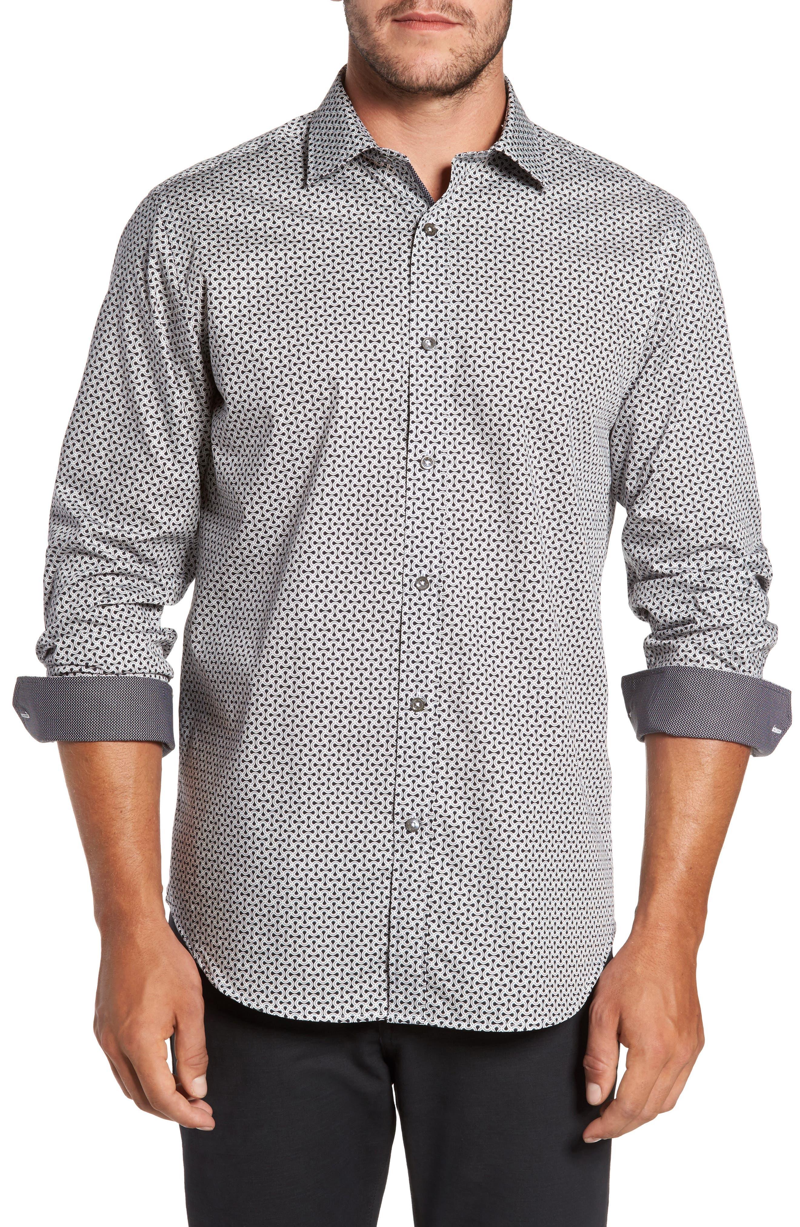 Classic Fit Print Sport Shirt,                             Main thumbnail 1, color,                             Black