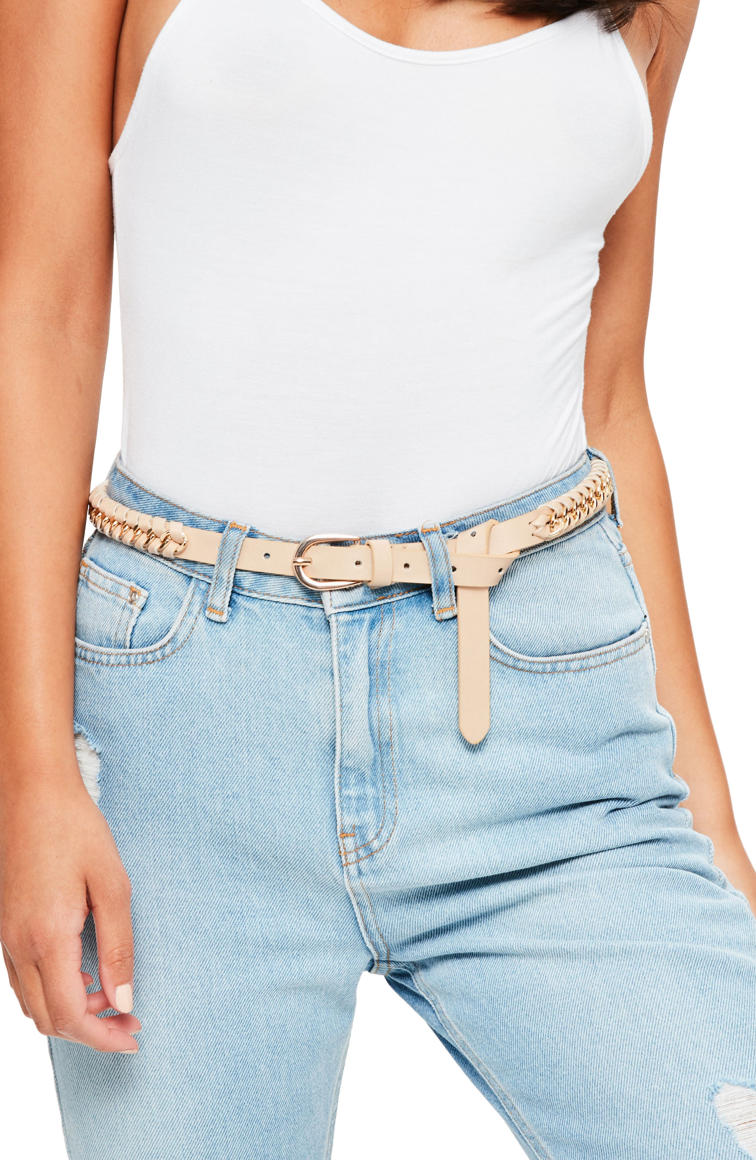 Woven Faux Leather & Chain Belt,                         Main,                         color, Nude