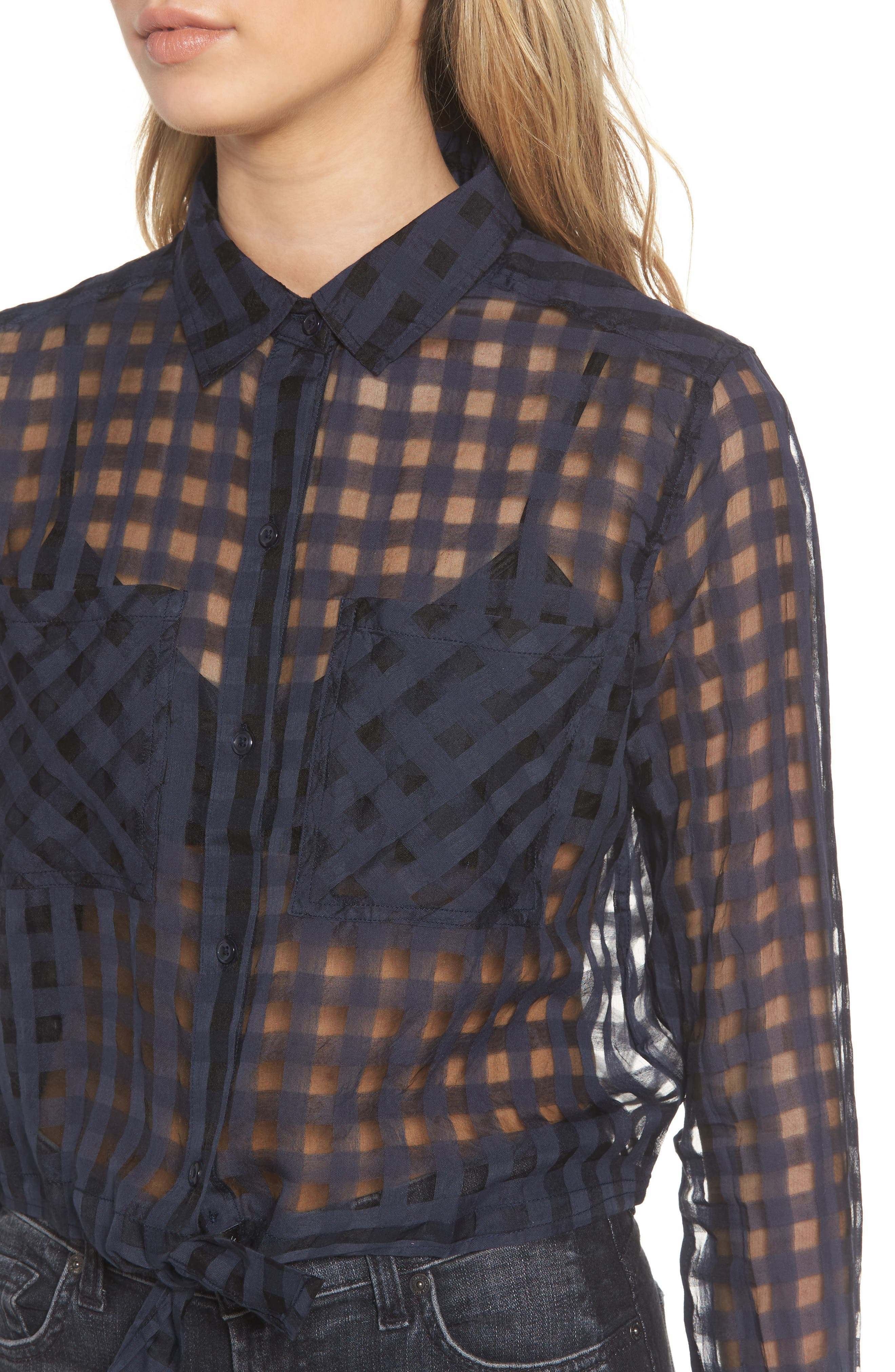 Kelsey Sheer Tie Front Shirt,                             Alternate thumbnail 4, color,                             Midnight Shadow Check