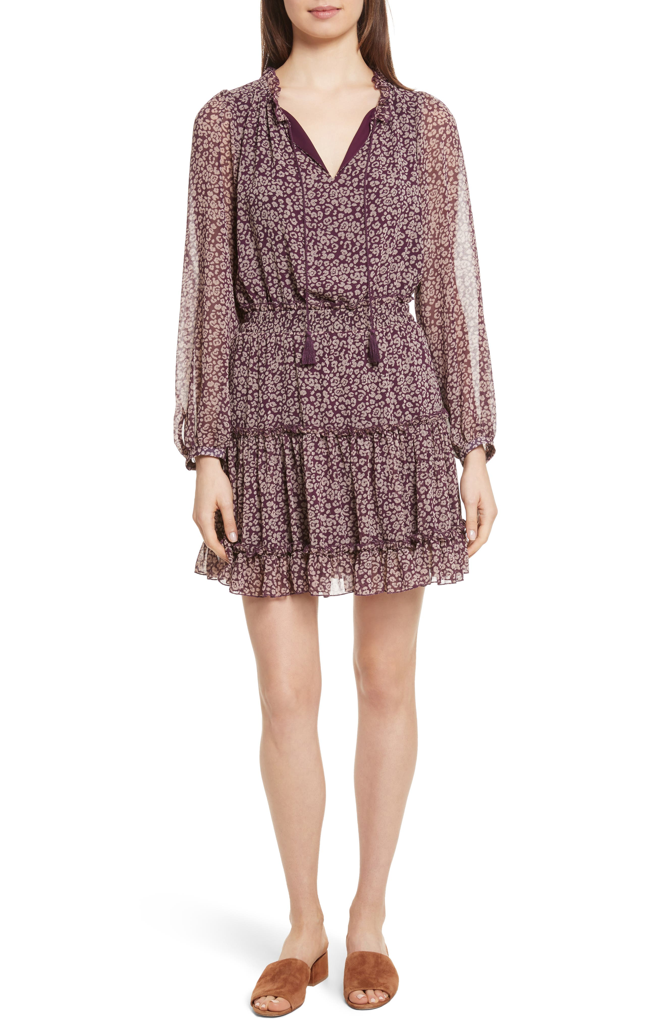 Rosemary A-Line Dress,                         Main,                         color, Potent Purple Leopard